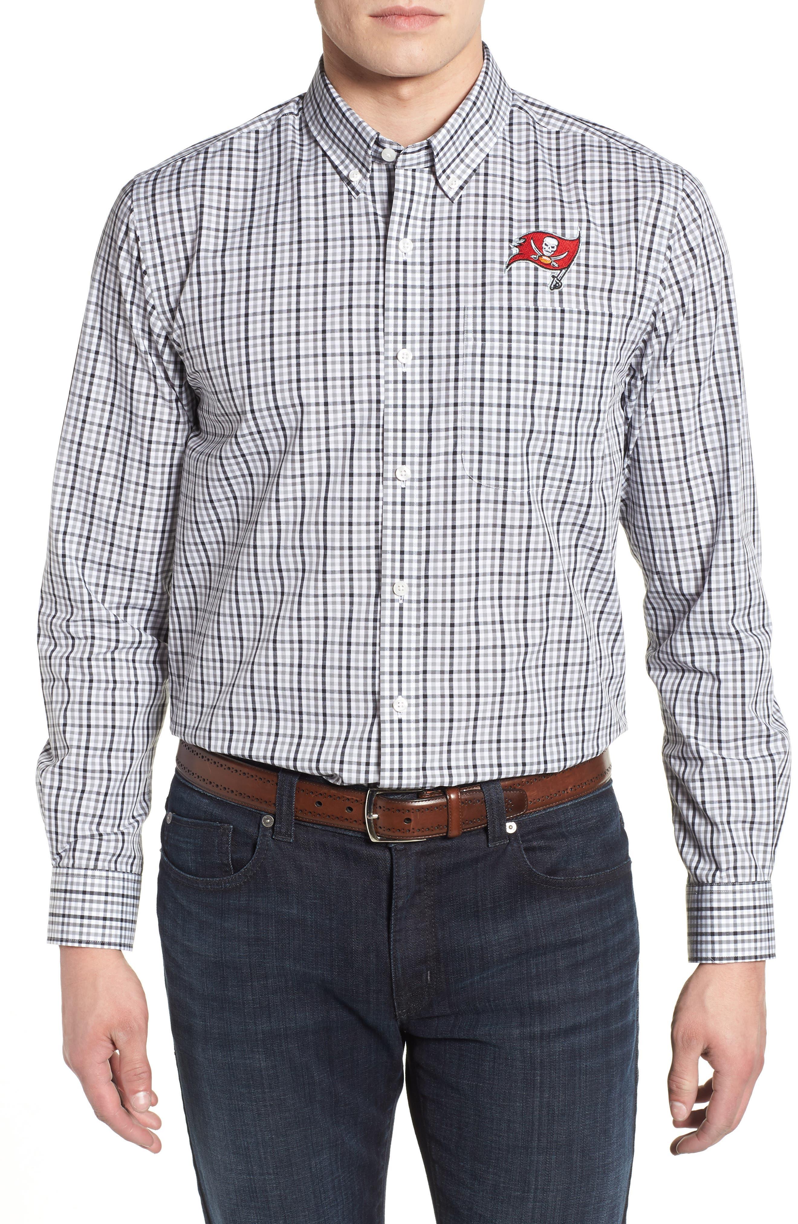Tampa Bay Buccaneers - Gilman Regular Fit Plaid Sport Shirt,                         Main,                         color, BLACK