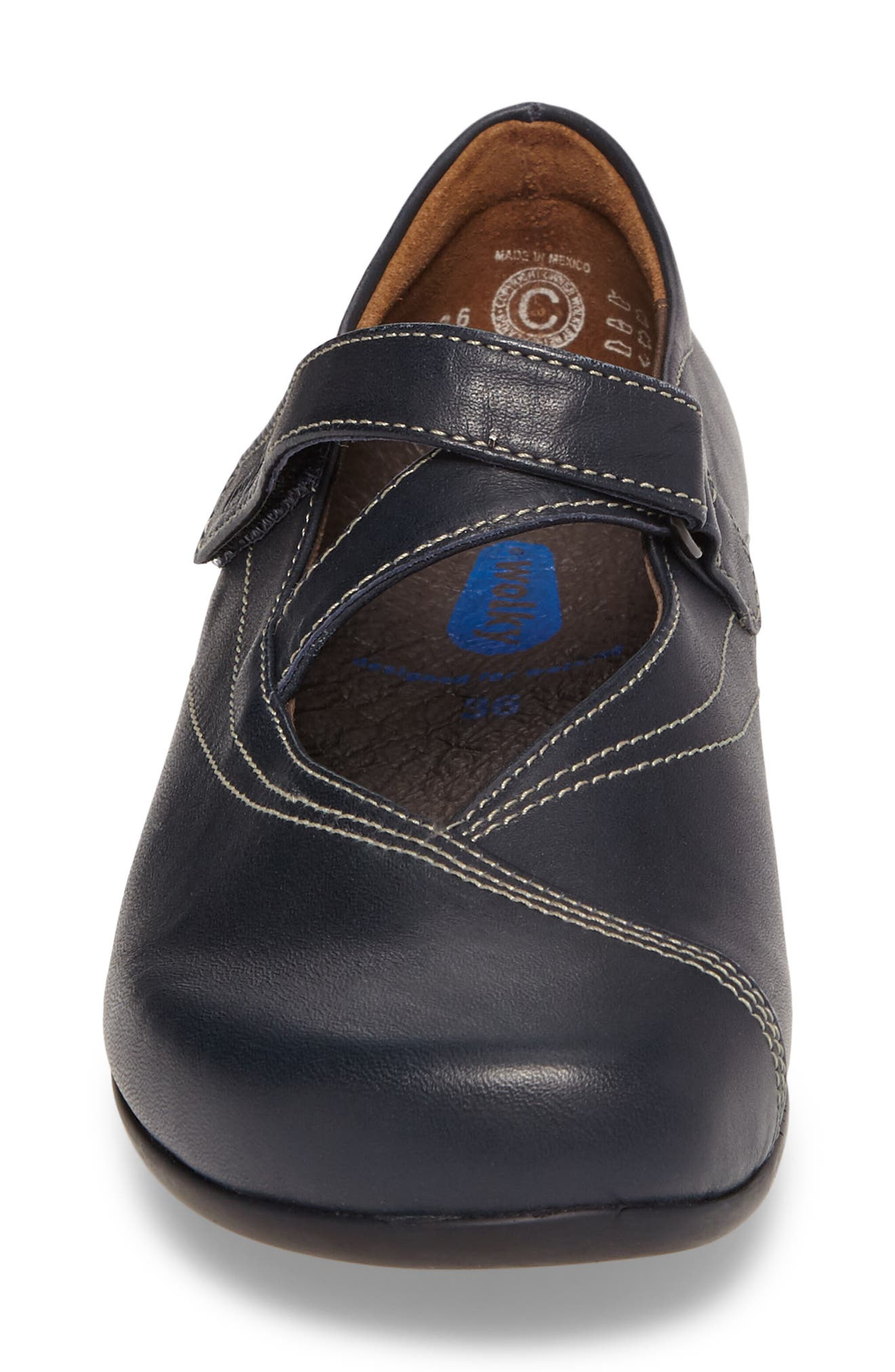 WOLKY,                             Passion Mary Jane Flat,                             Alternate thumbnail 4, color,                             NAVY LEATHER