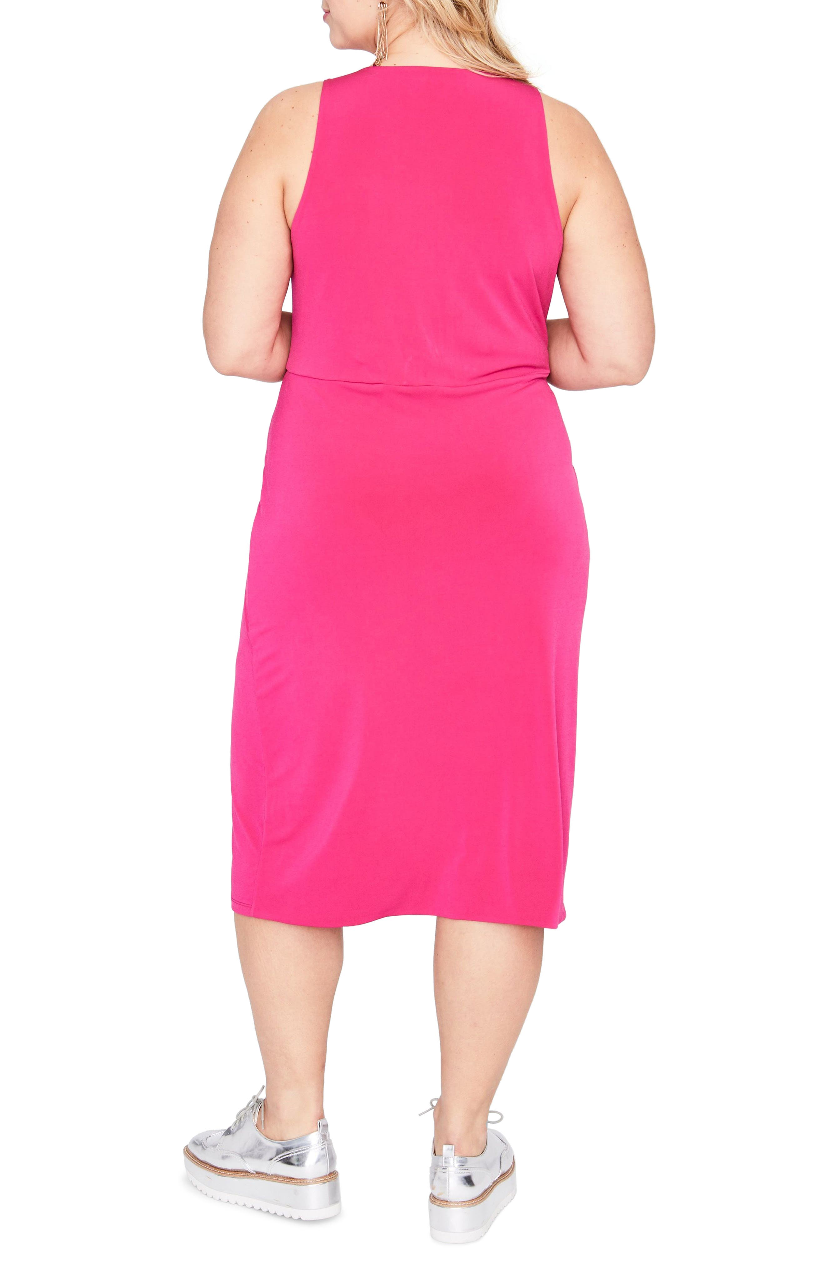 Twist Front Dress,                             Alternate thumbnail 2, color,                             AZALEA