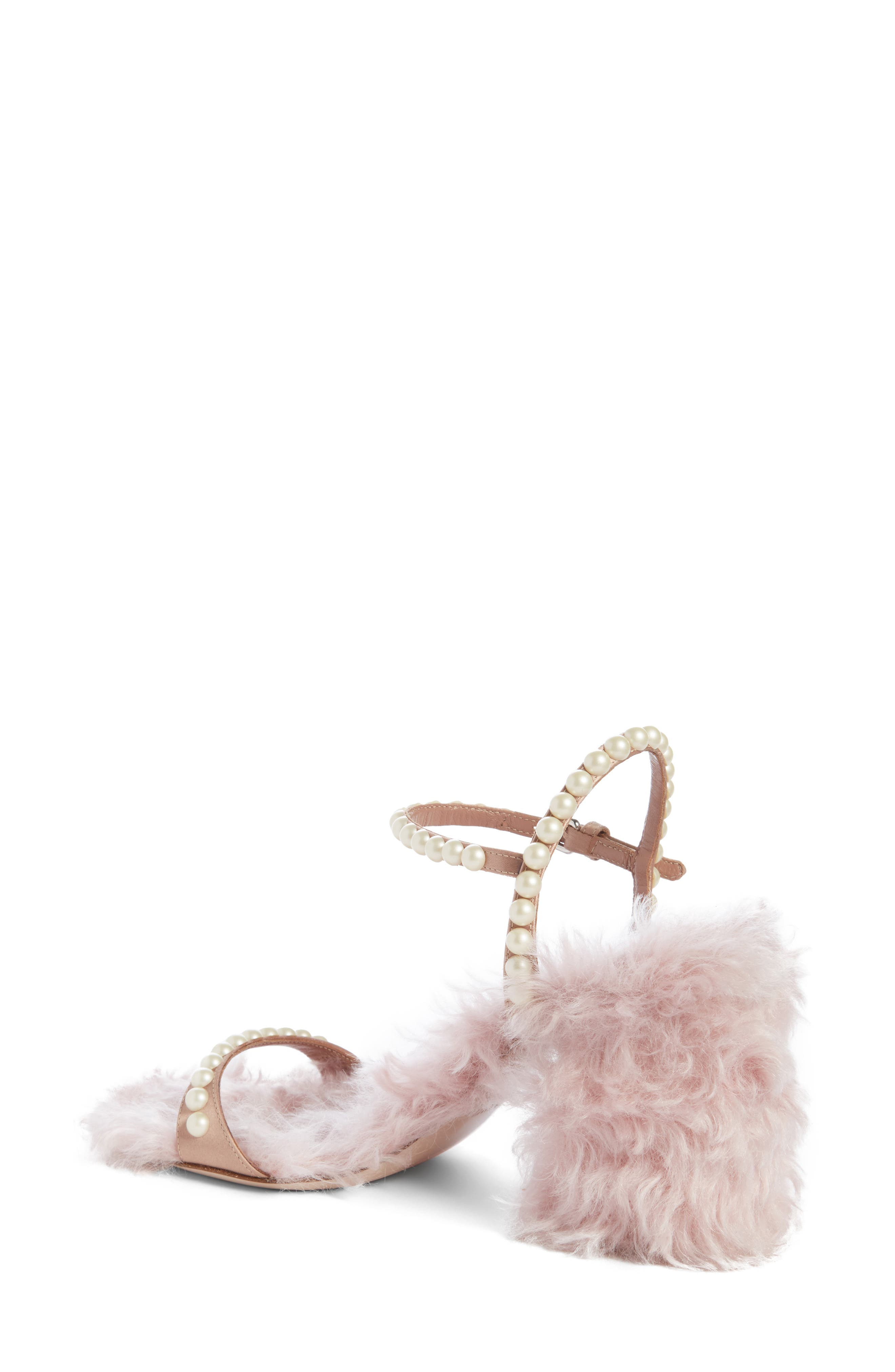 Imitation Pearl Embellished Faux Fur Sandal,                             Alternate thumbnail 2, color,                             650