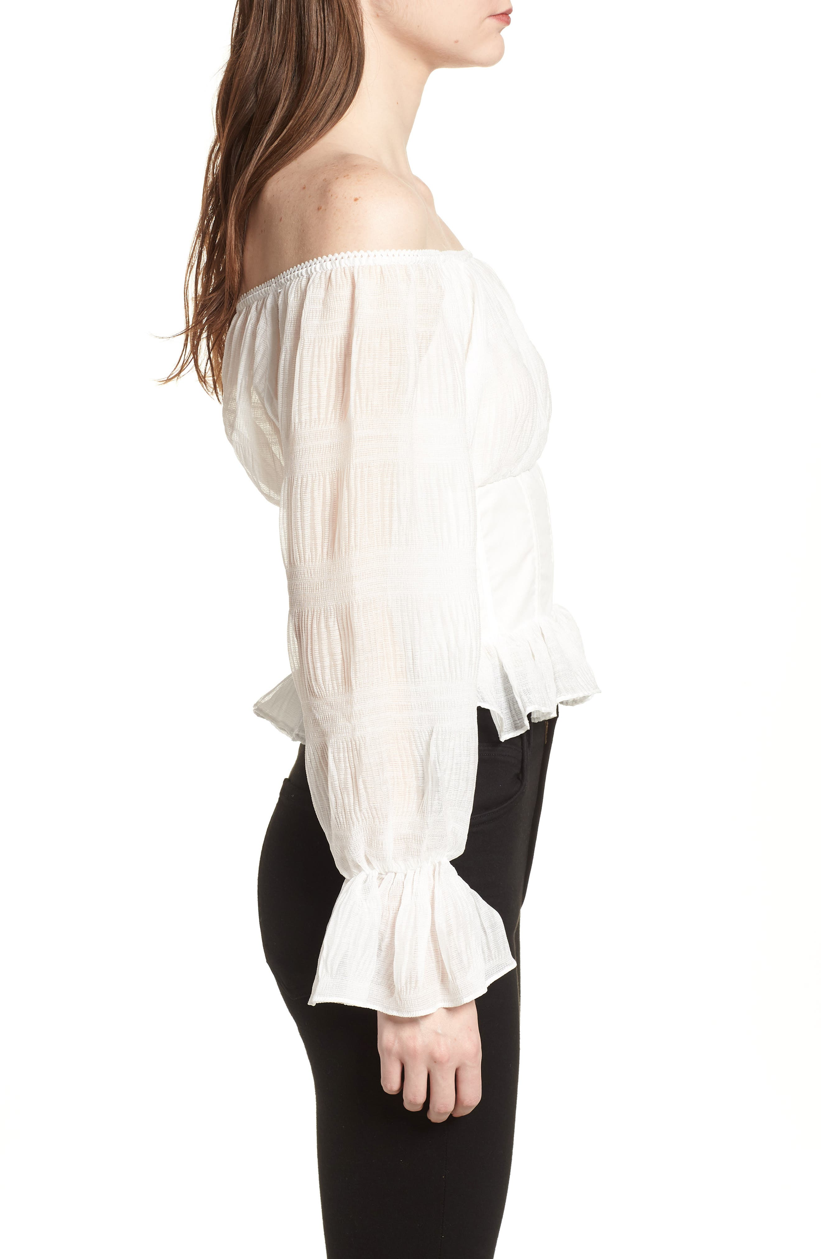 Date Night Off the Shoulder Chiffon Top,                             Alternate thumbnail 3, color,                             100