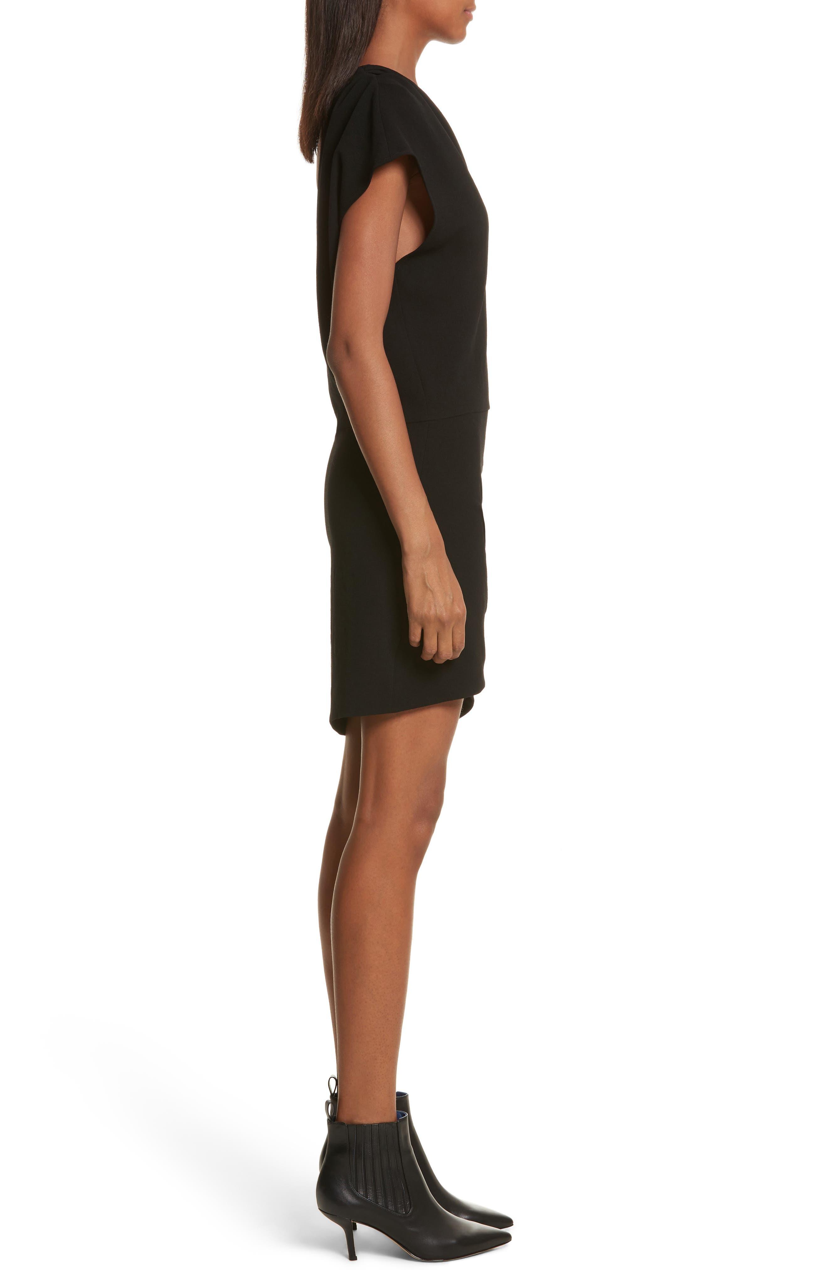 Davov One-Shoulder Envelope Hem Dress,                             Alternate thumbnail 3, color,                             001