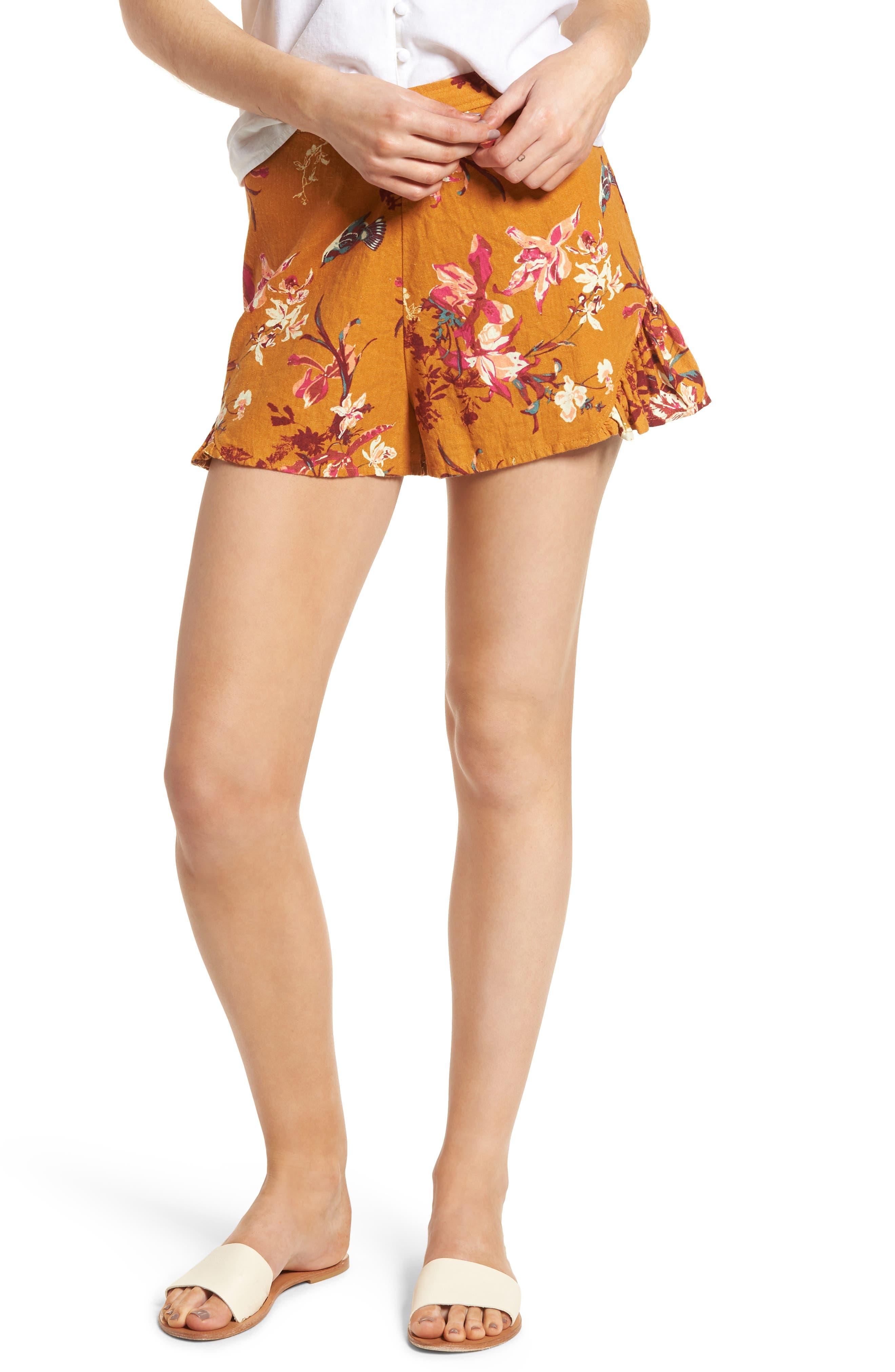Print Linen Blend Shorts,                             Main thumbnail 1, color,                             720