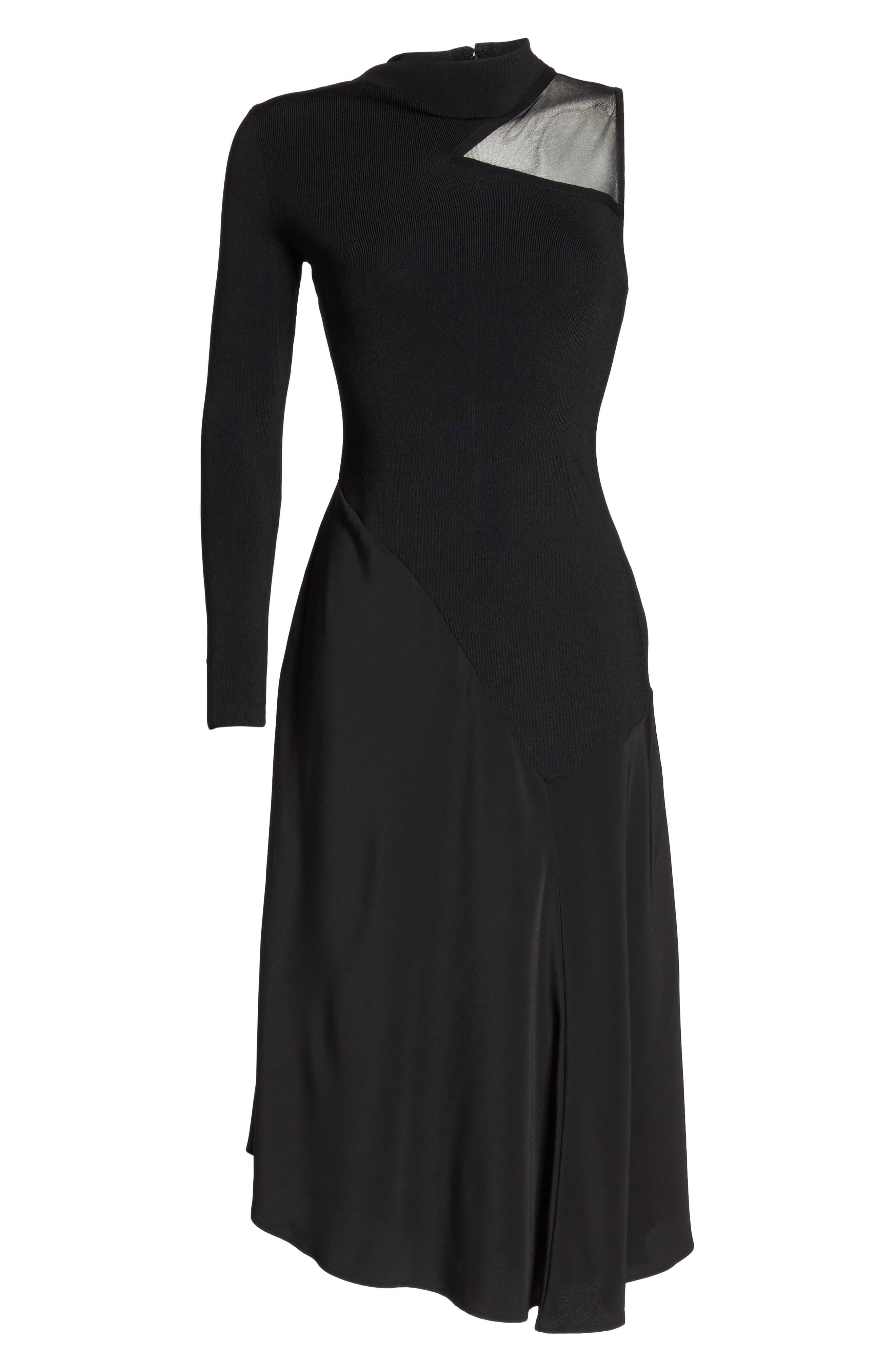 One-Shoulder Midi Dress,                             Alternate thumbnail 6, color,                             004