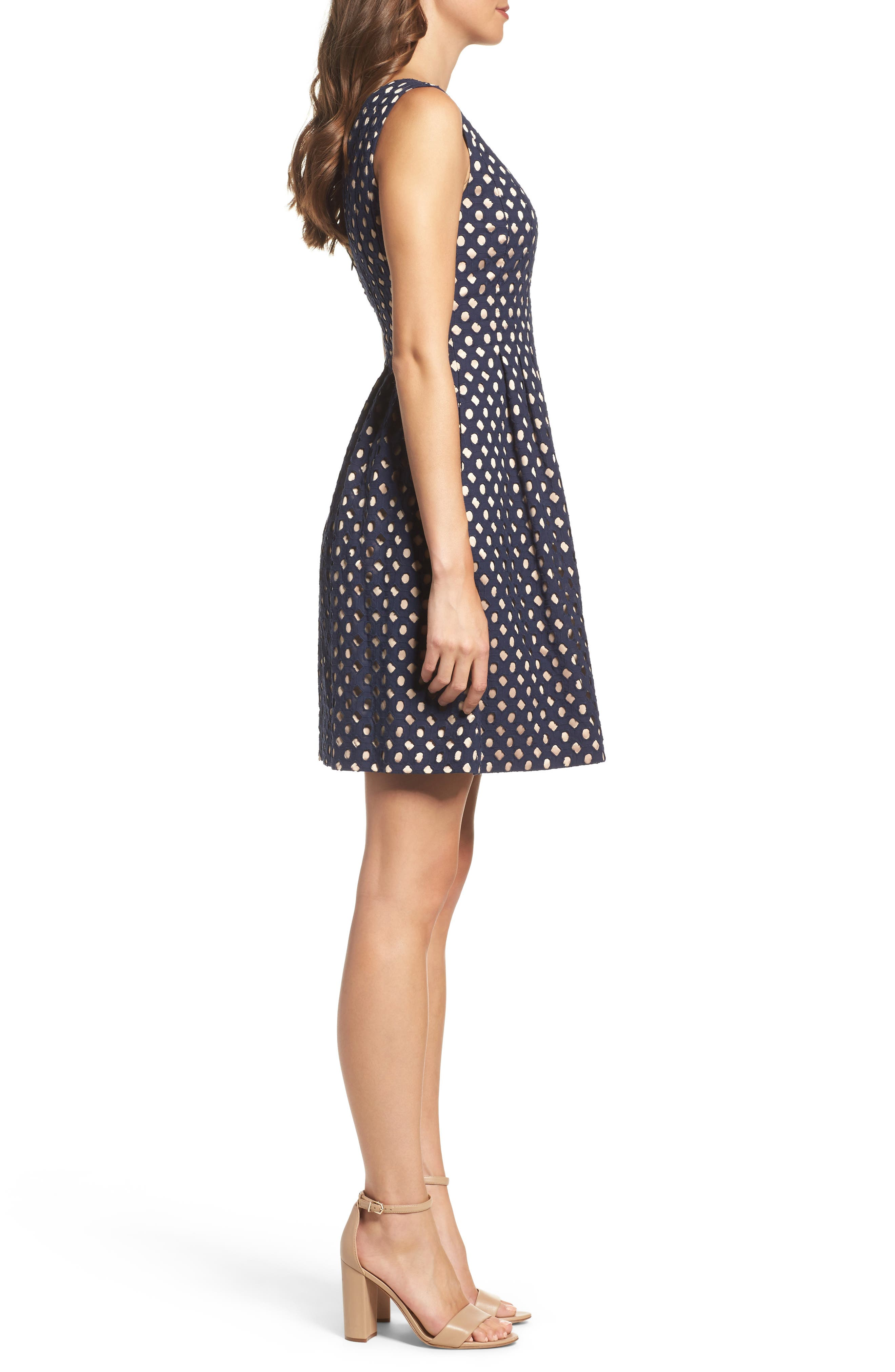 Eyelet Fit & Flare Dress,                             Alternate thumbnail 3, color,                             410