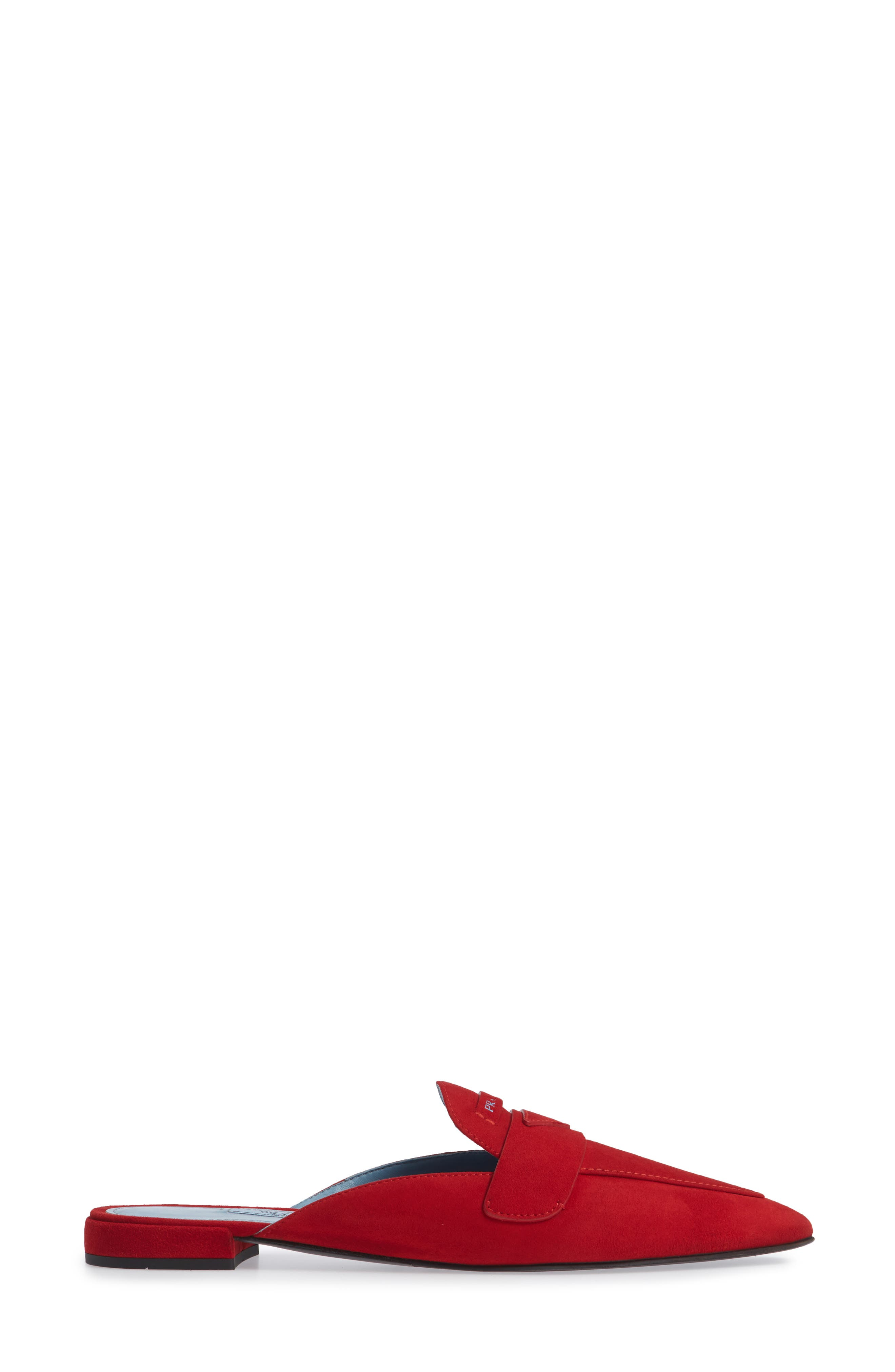 Logo Pointy Toe Loafer Mule,                             Alternate thumbnail 3, color,                             RED