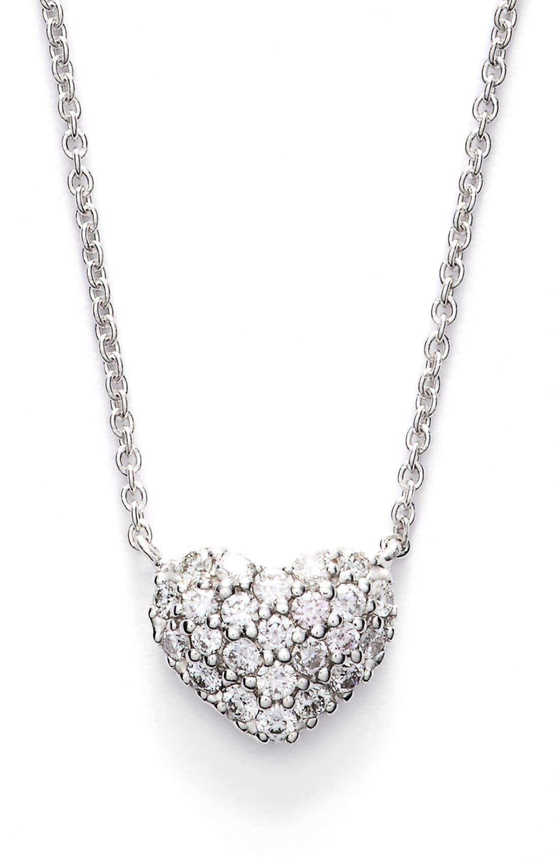 Diamond Pavé Heart Pendant Necklace,                             Main thumbnail 1, color,                             WHITE GOLD