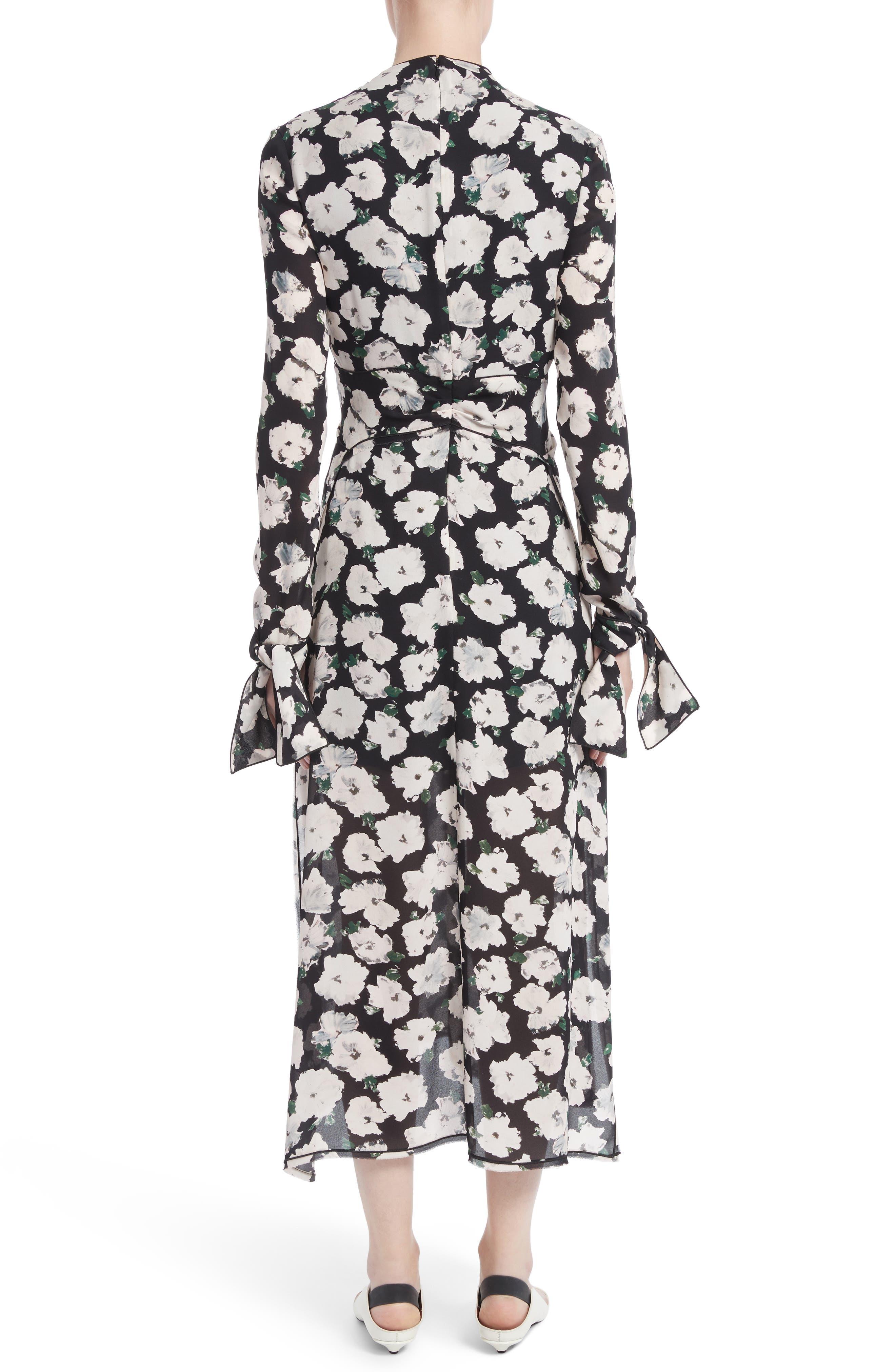 Print Silk Midi Dress,                             Alternate thumbnail 2, color,                             001
