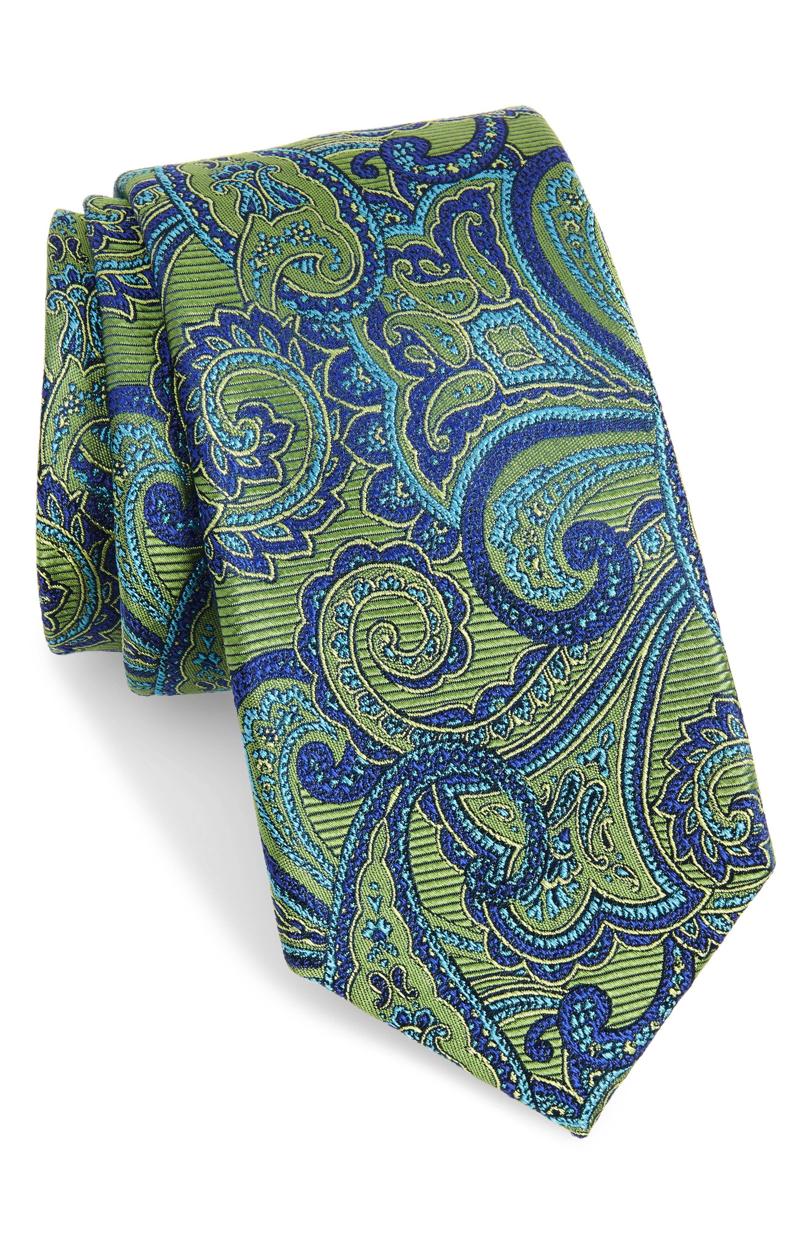 Avalon Paisley Silk Tie,                             Main thumbnail 2, color,