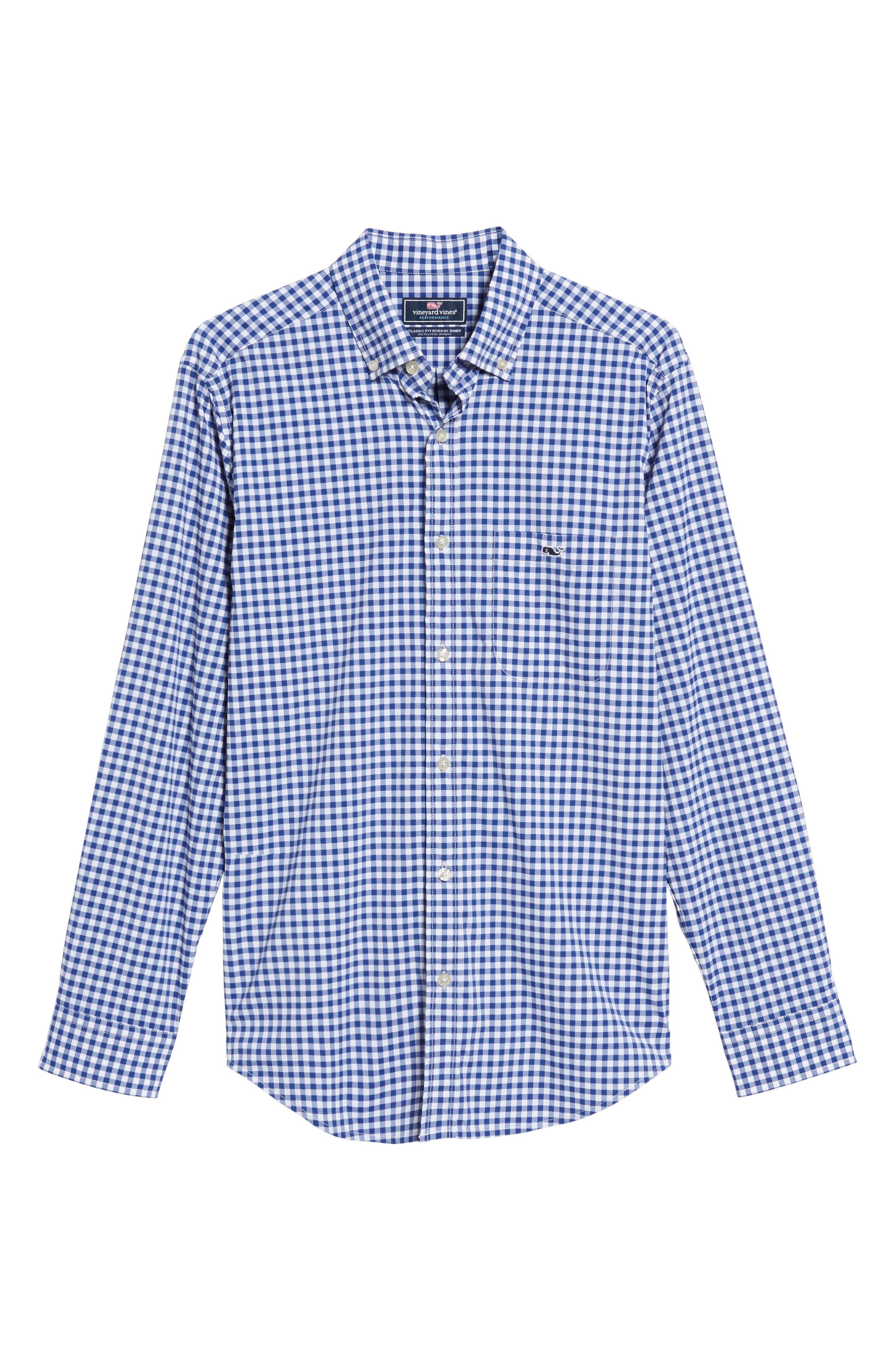 Ferndale Tucker Classic Fit Gingham Sport Shirt,                             Alternate thumbnail 6, color,                             461