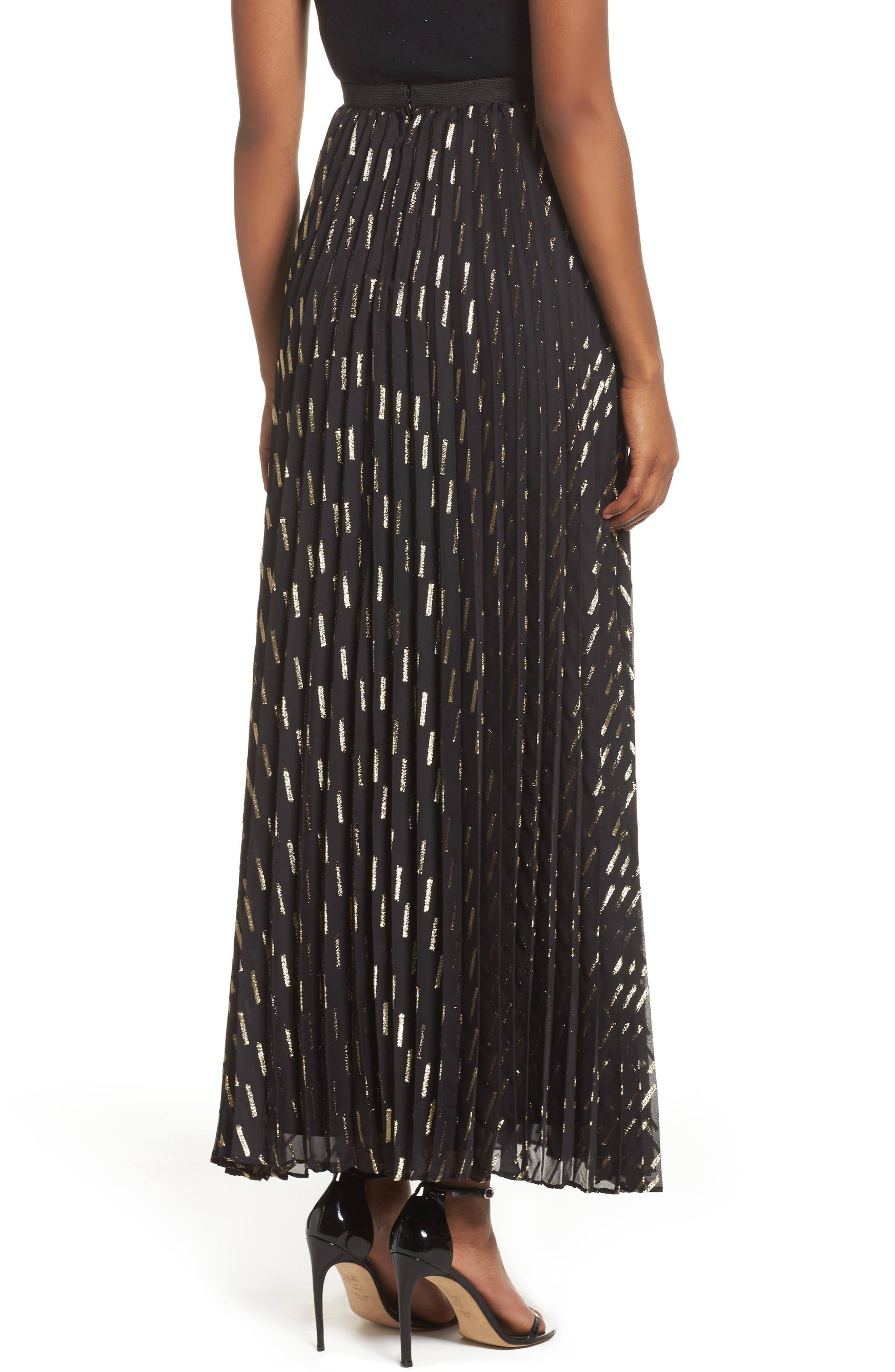 Metallic Detail Pleated Chiffon Maxi Skirt,                             Alternate thumbnail 2, color,                             712