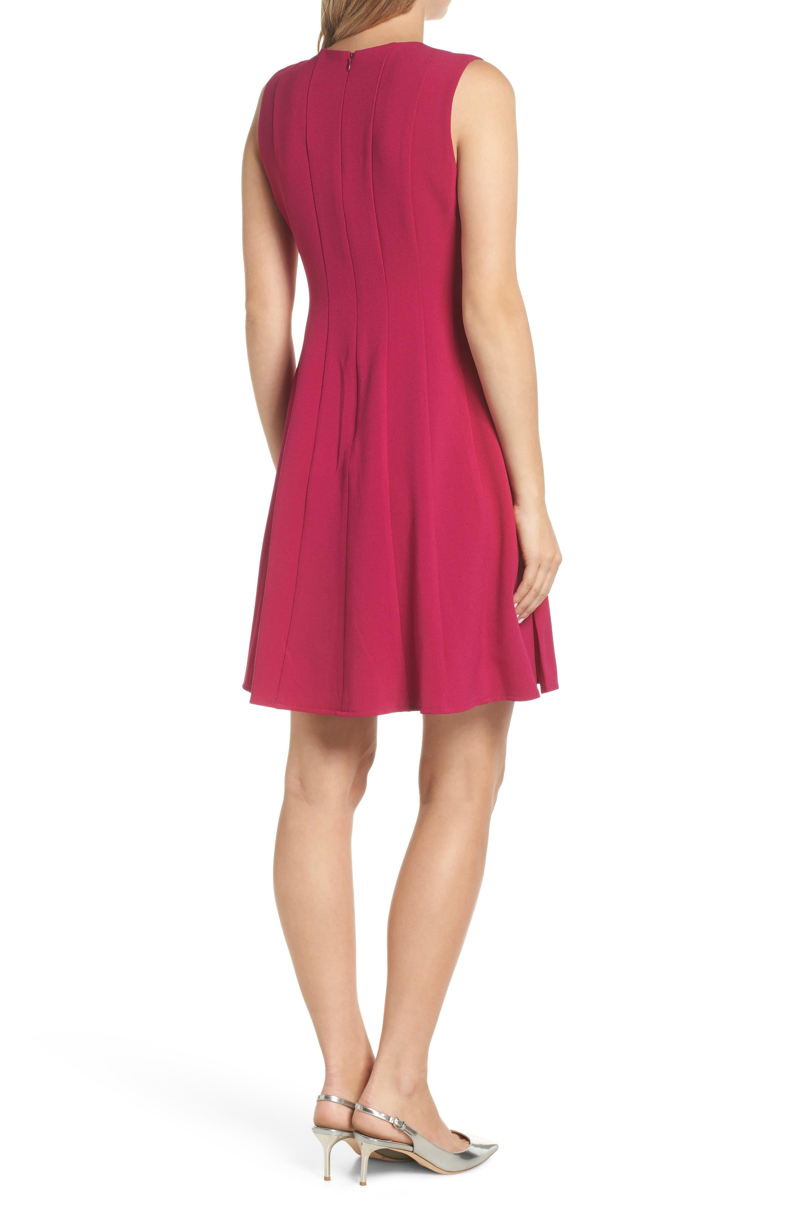 Sleeveless Pleat Panel Fit & Flare Dress,                             Alternate thumbnail 2, color,                             FUCHSIA