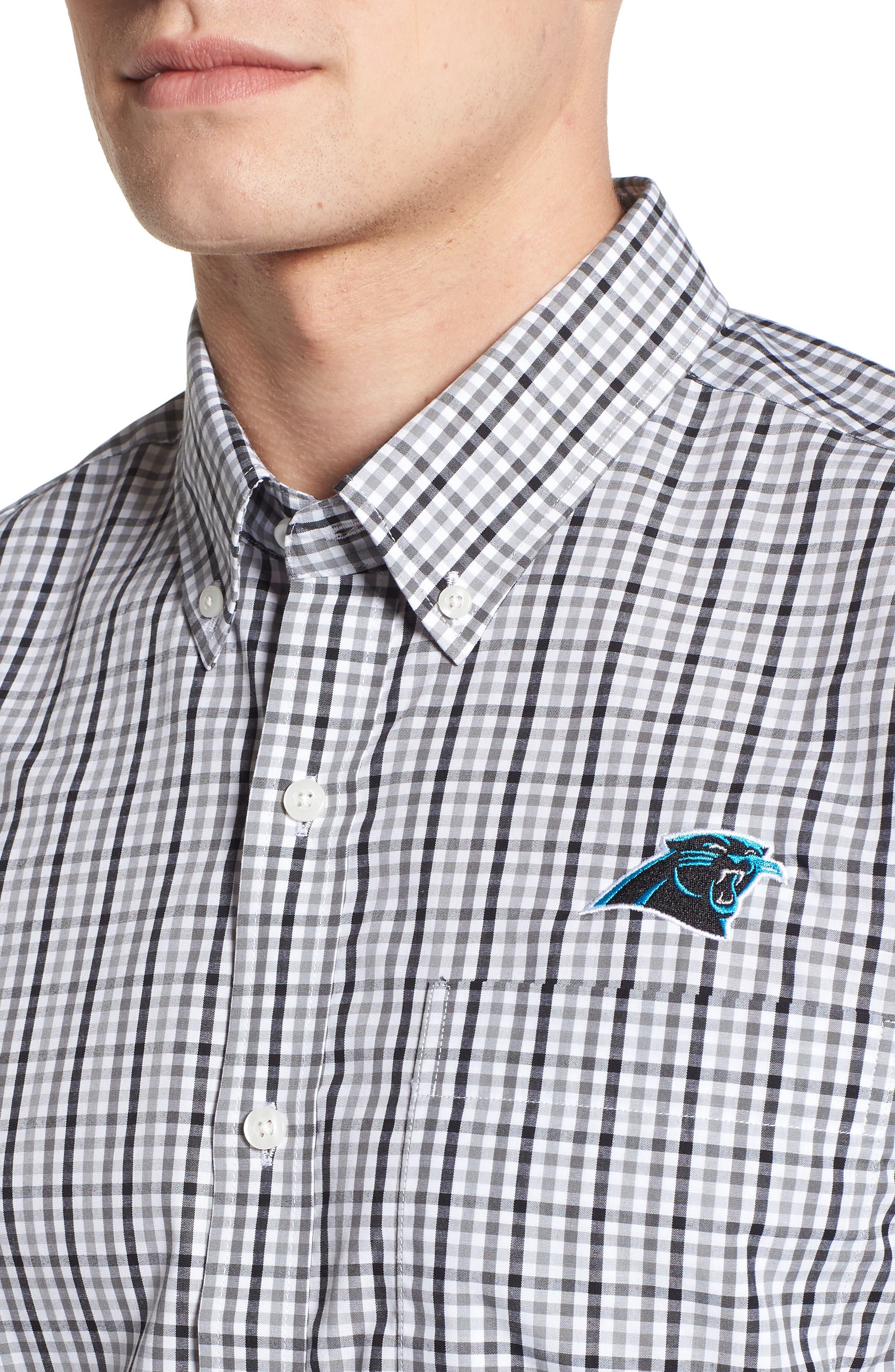 Carolina Panthers - Gilman Regular Fit Plaid Sport Shirt,                             Alternate thumbnail 4, color,                             BLACK