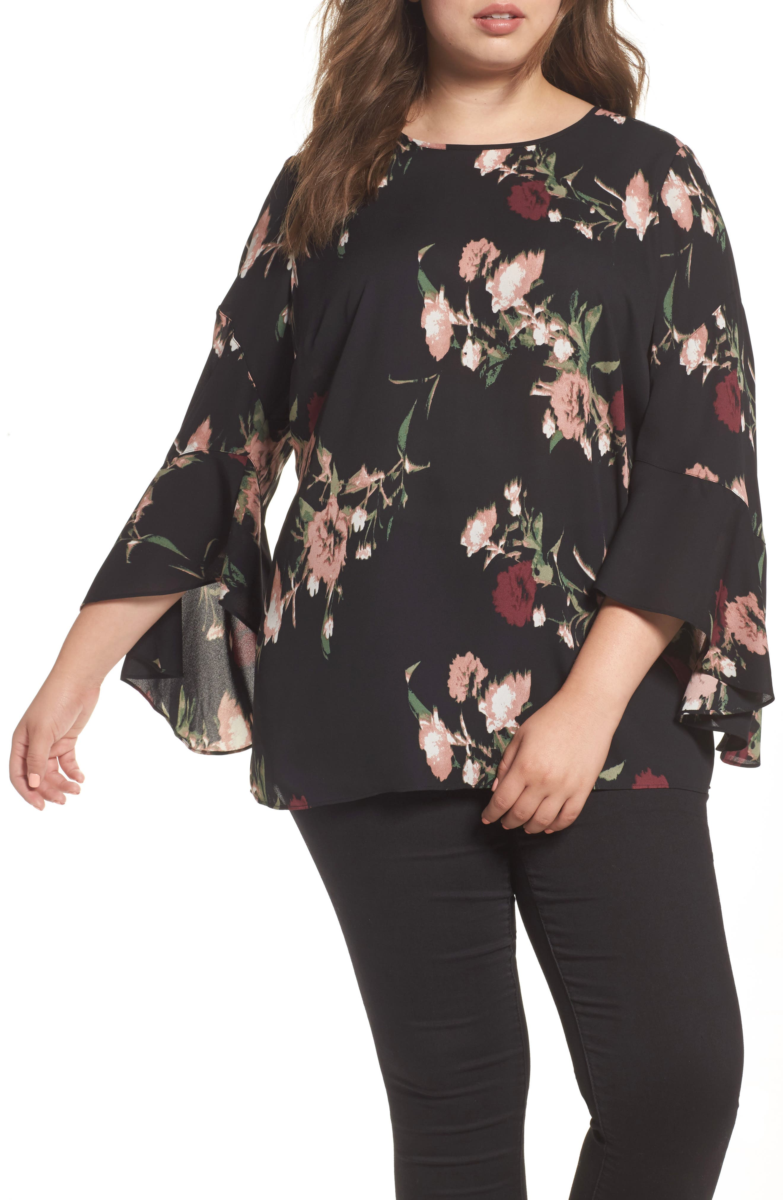 Windswept Bouquet Bell Sleeve Blouse,                             Main thumbnail 1, color,                             001