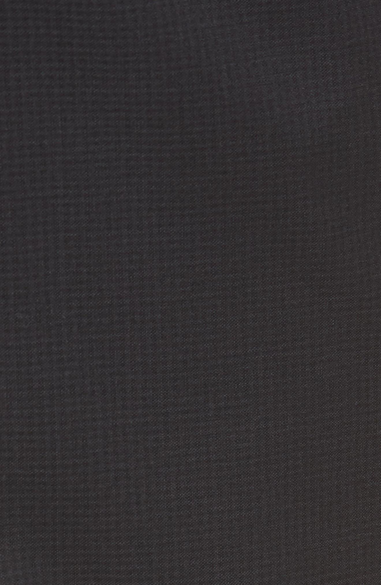 Leenon Flat Front Check Wool Trousers,                             Alternate thumbnail 5, color,                             BLACK