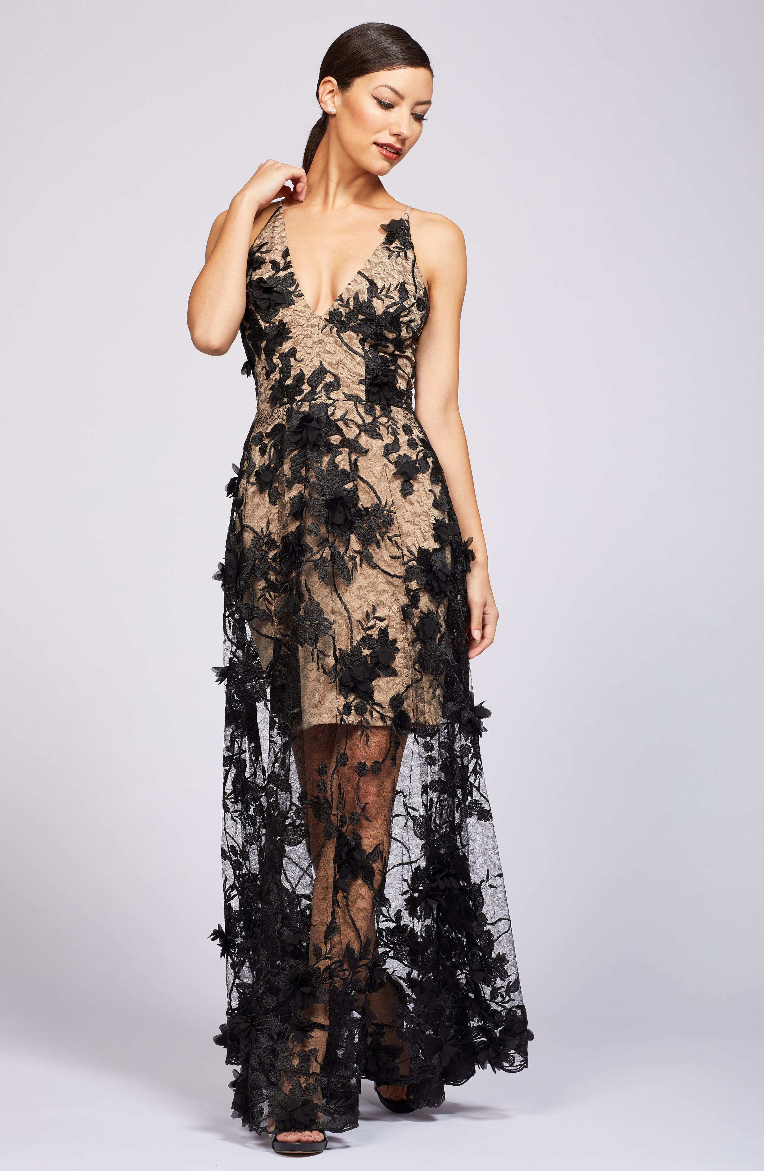 Sidney Deep V-Neck 3D Lace Gown,                             Alternate thumbnail 12, color,
