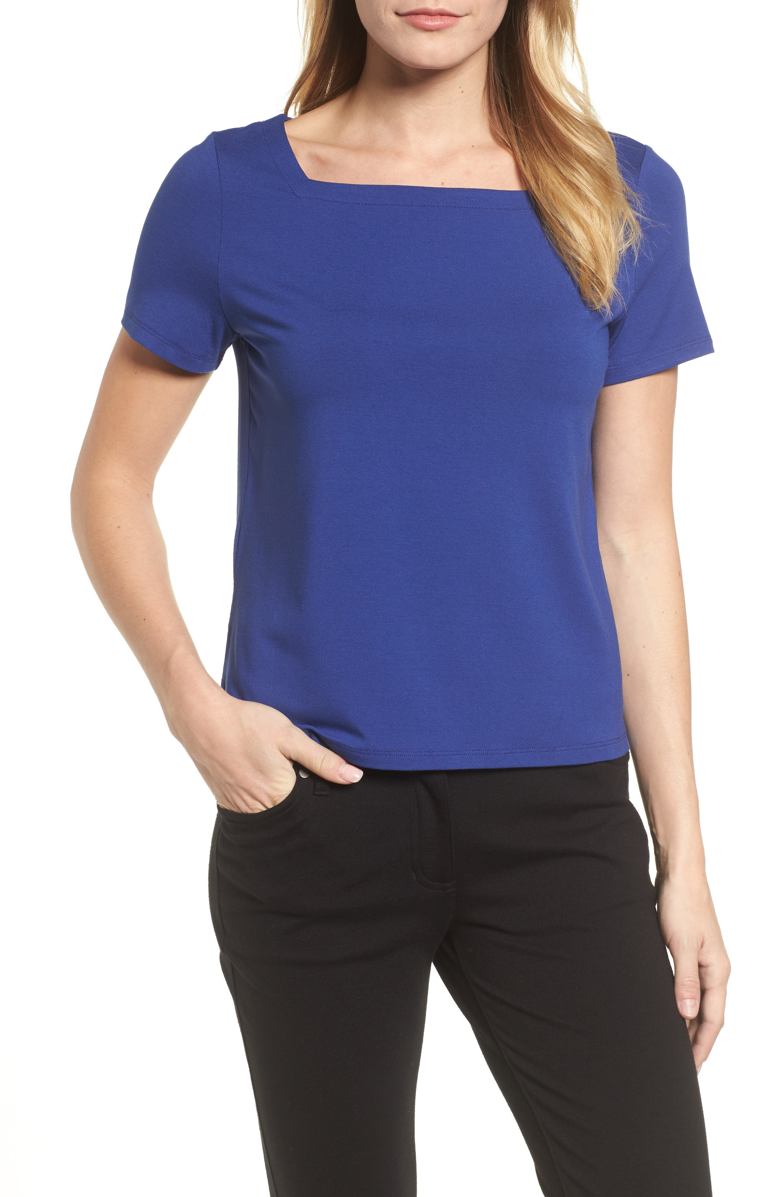 Square Neck Jersey Top,                             Main thumbnail 3, color,