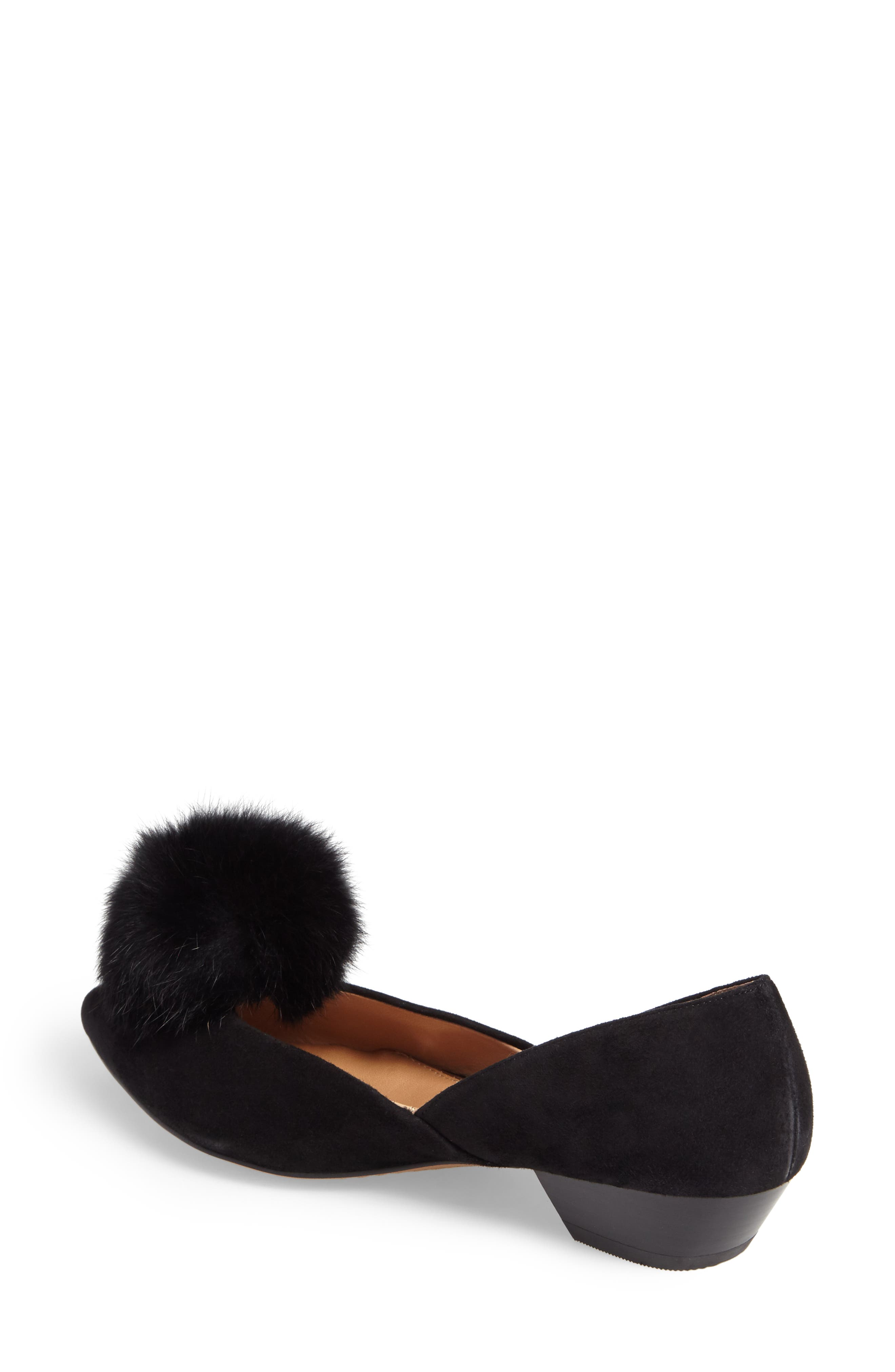 Camille Pump with Genuine Rabbit Fur Pom,                             Alternate thumbnail 2, color,                             002