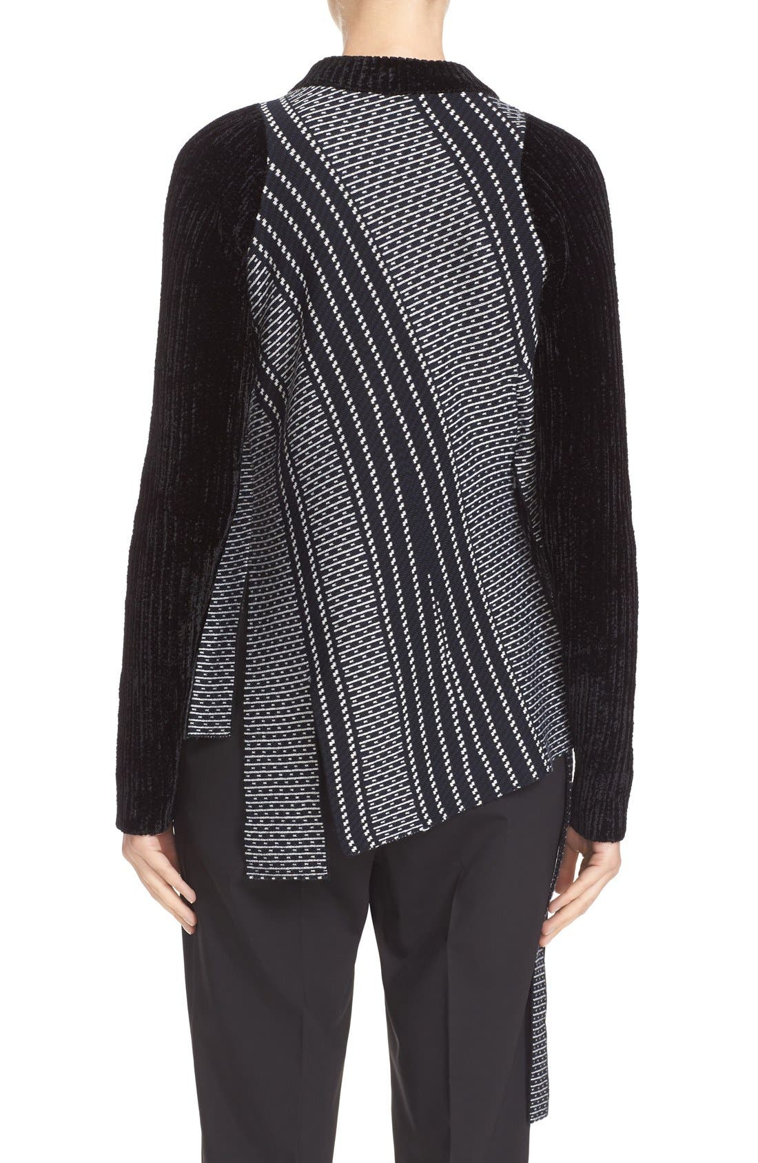 Draped Jacquard & Chenille Sweater,                             Alternate thumbnail 5, color,                             001