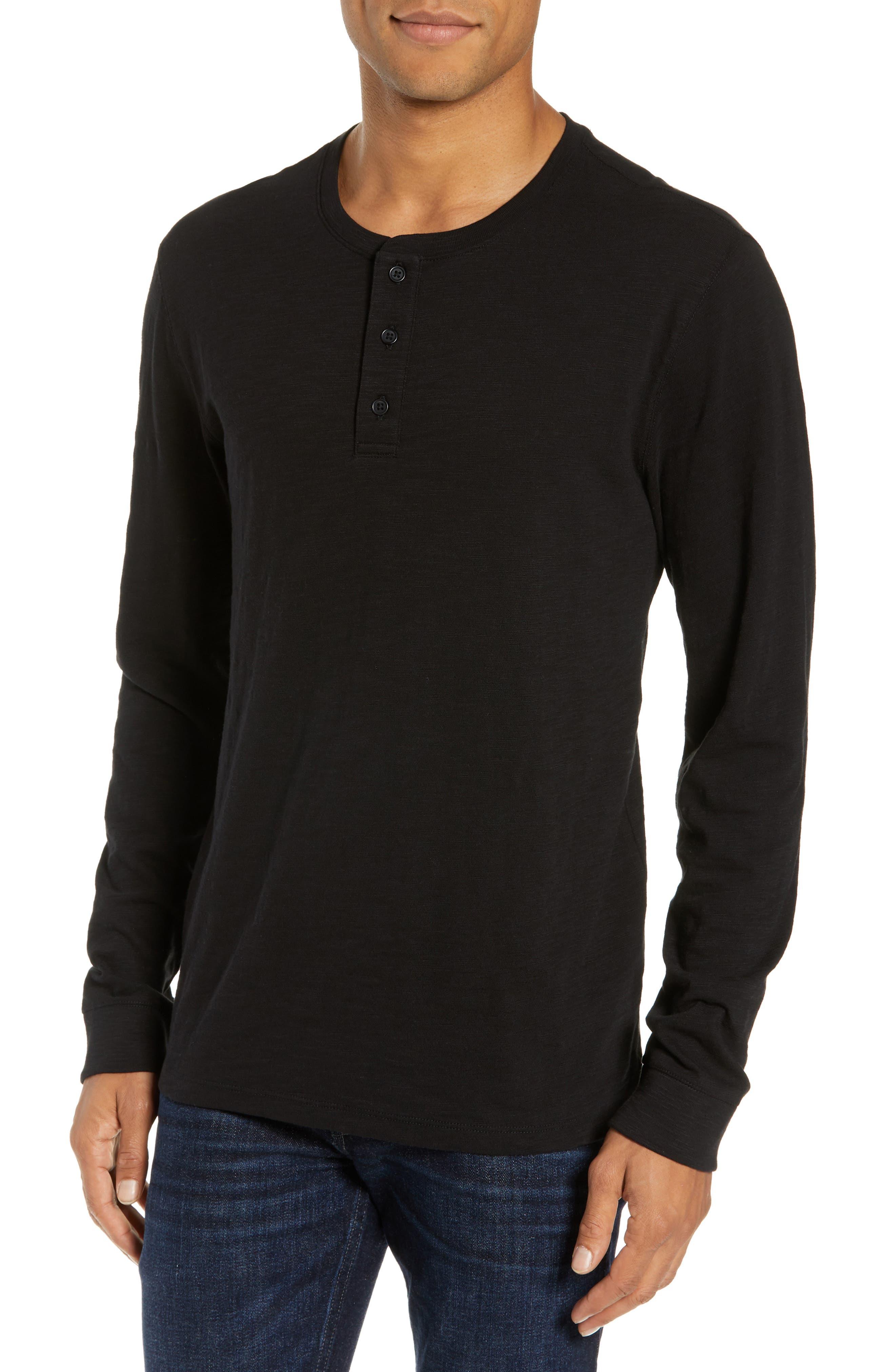 Slub Henley Top,                         Main,                         color, BLACK