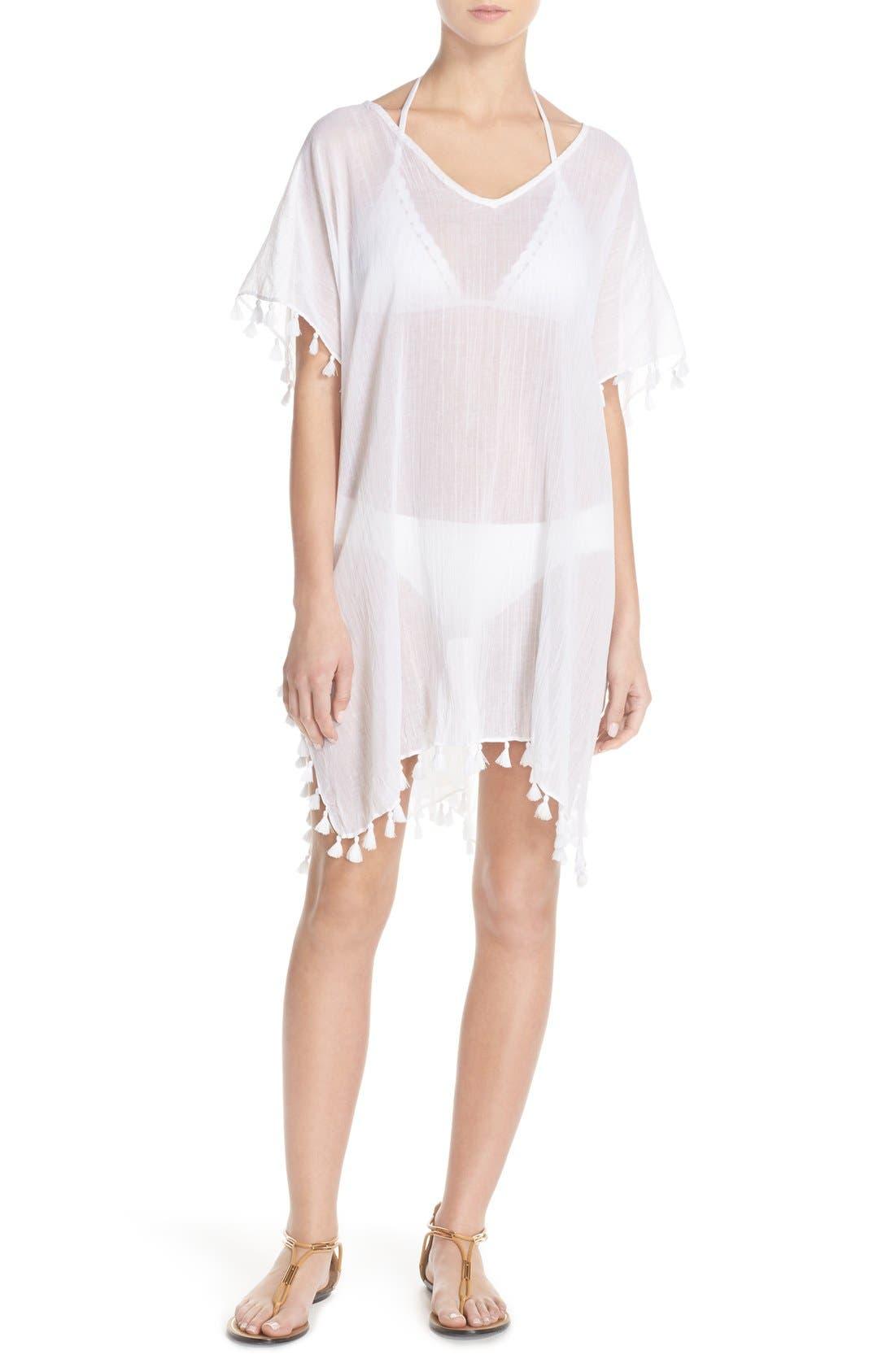 'Amnesia' Cotton Gauze Cover-Up Caftan, Main, color, WHITE