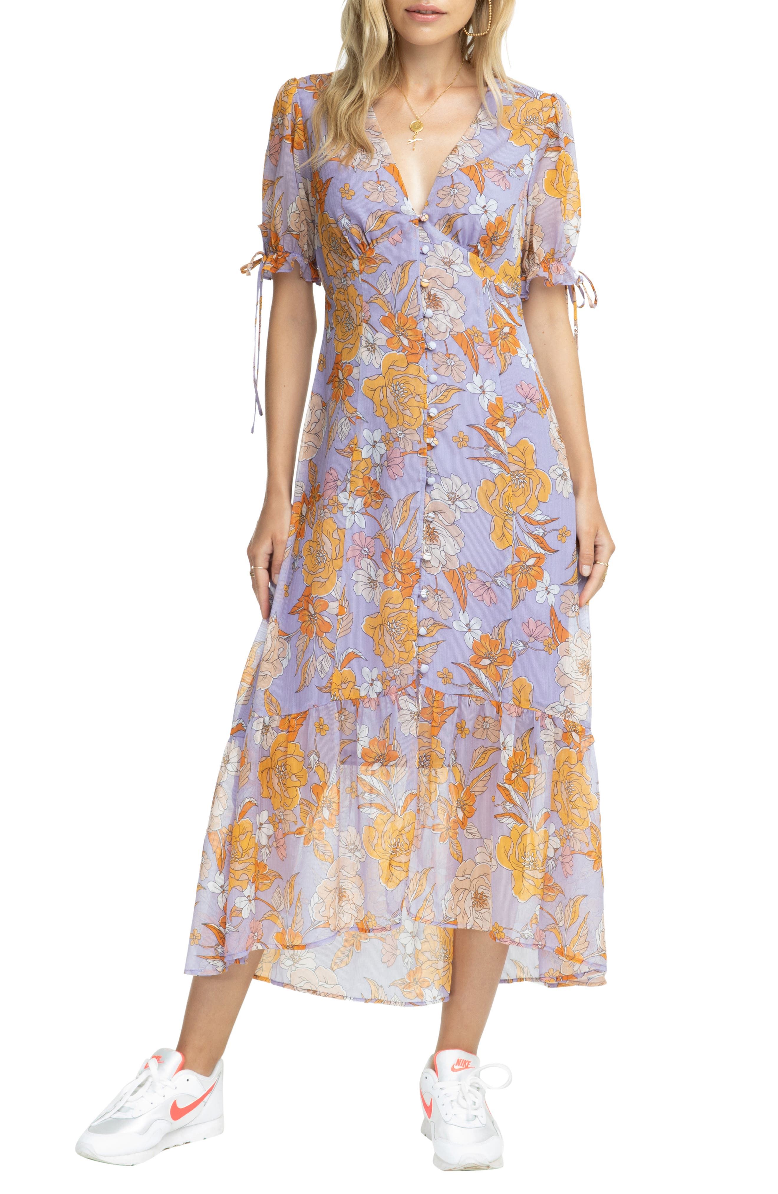 Astr The Label Chandler Floral Dress, Purple