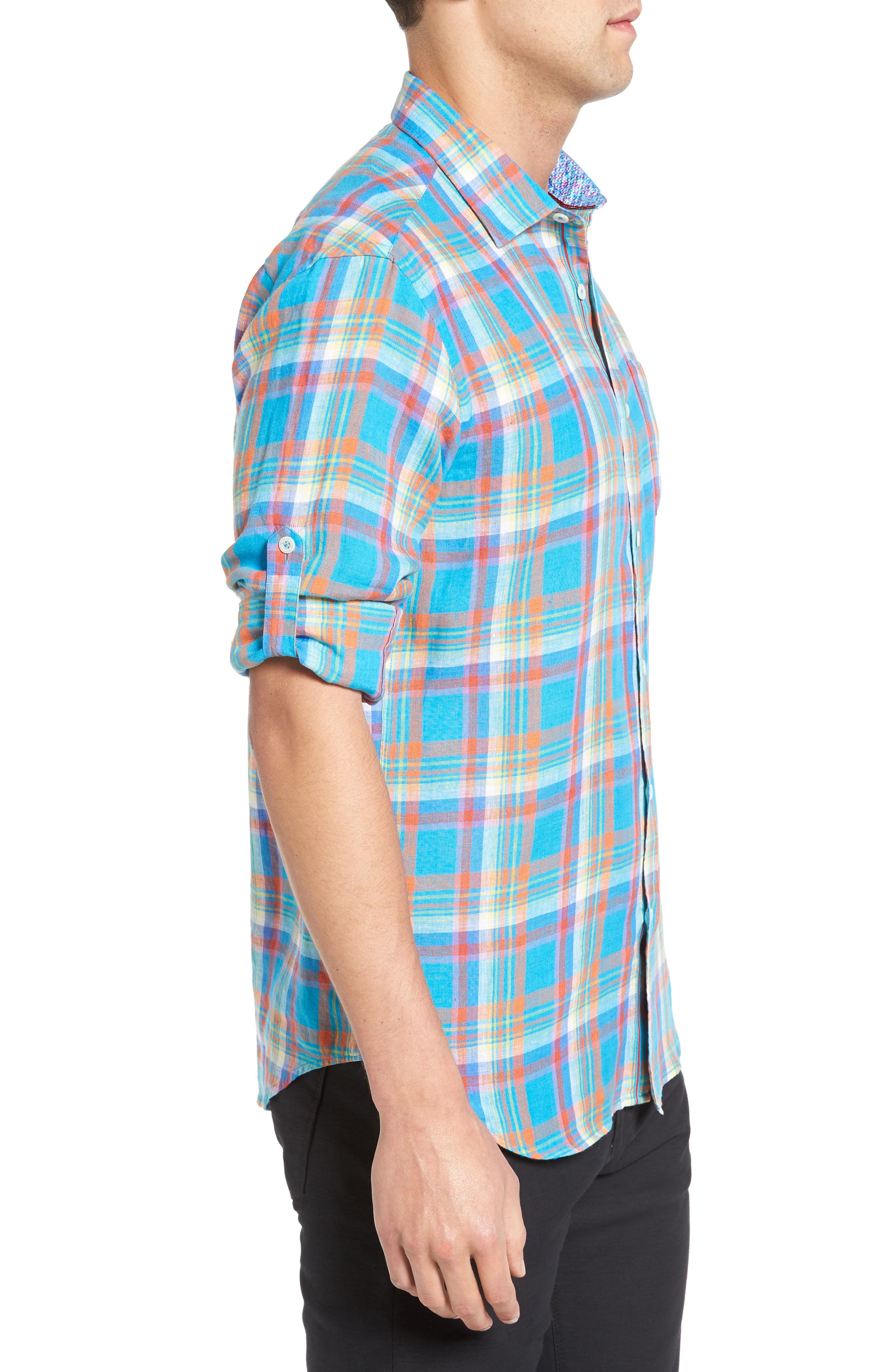 Shaped Fit Plaid Linen Sport Shirt,                             Alternate thumbnail 3, color,