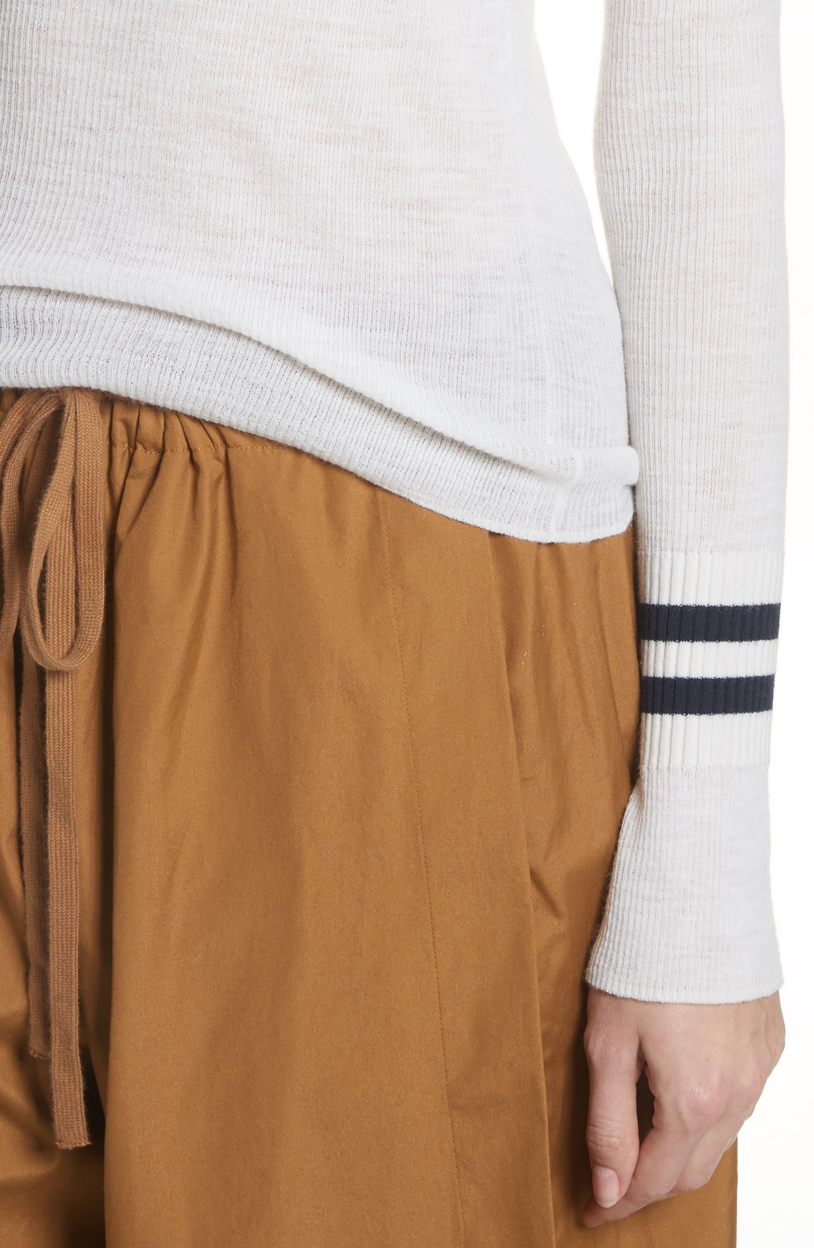 Stripe Cuff Wool Sweater,                             Alternate thumbnail 4, color,                             170