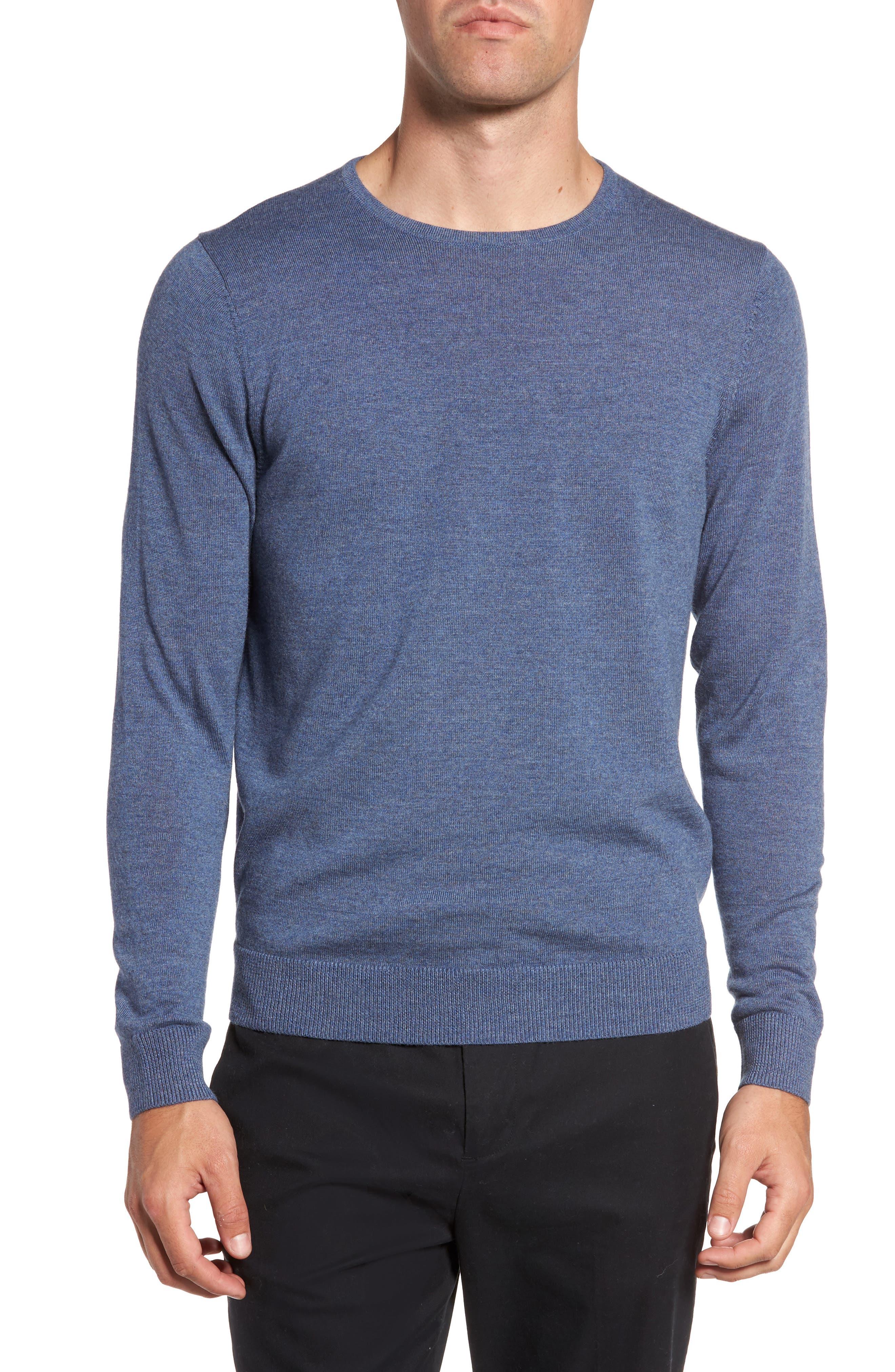 Nordstrom Shop Crewneck Merino Wool Sweater, Blue