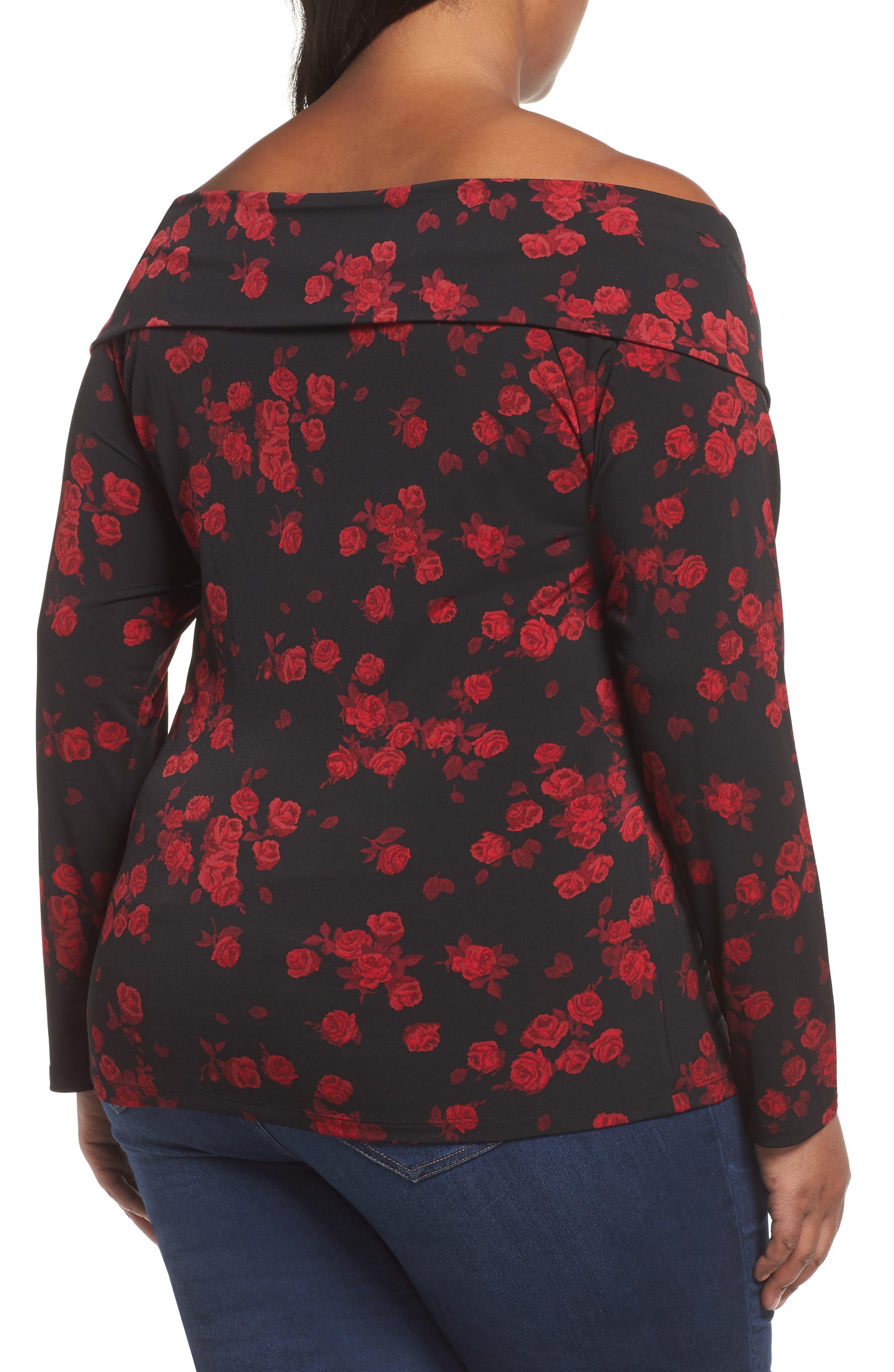 Off the Shoulder Rose Top,                             Alternate thumbnail 2, color,                             BLACK/ RED CURRANT