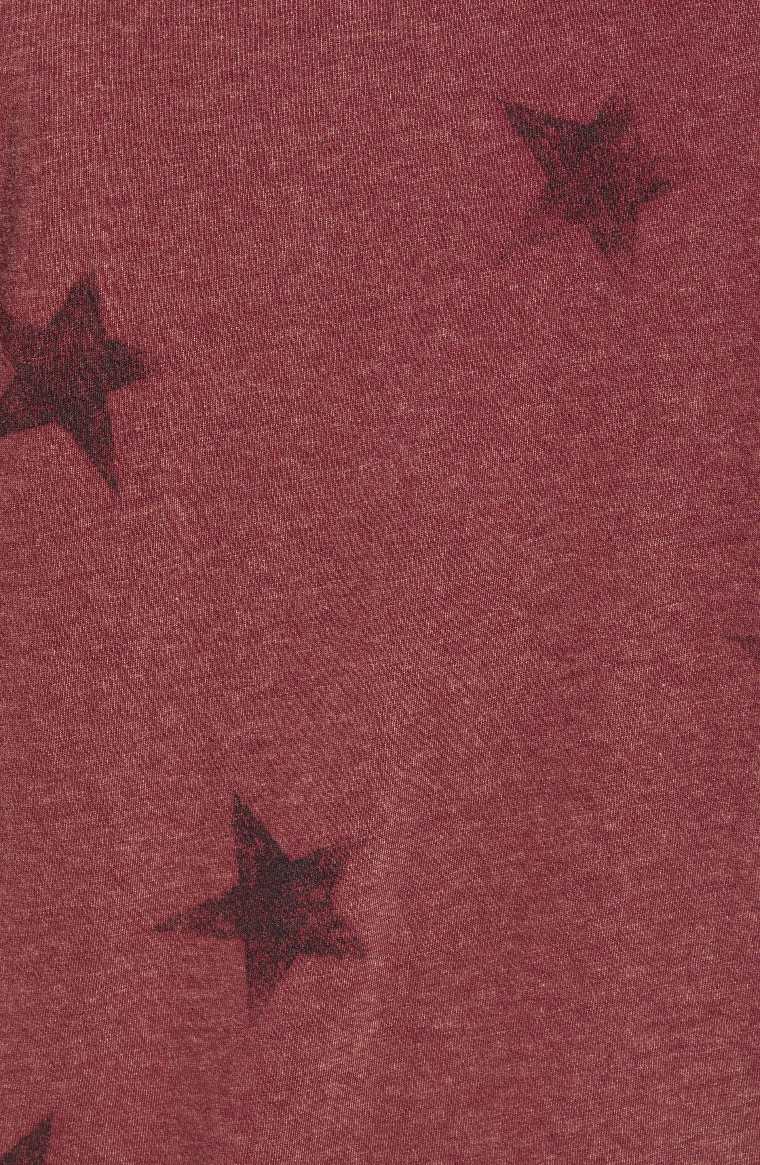Star Print T-Shirt,                             Alternate thumbnail 5, color,                             OXBLOOD