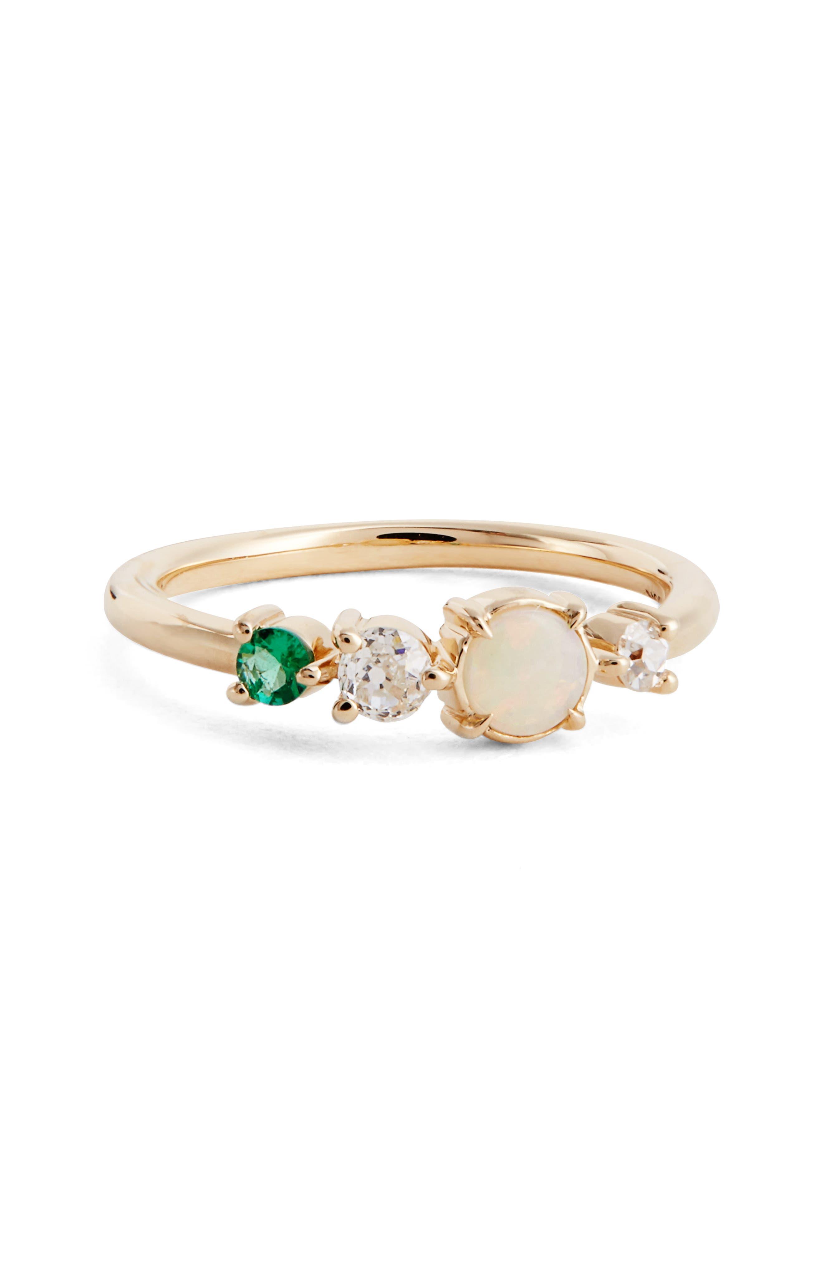 Emerald, Opal & Diamond Ring,                             Main thumbnail 1, color,