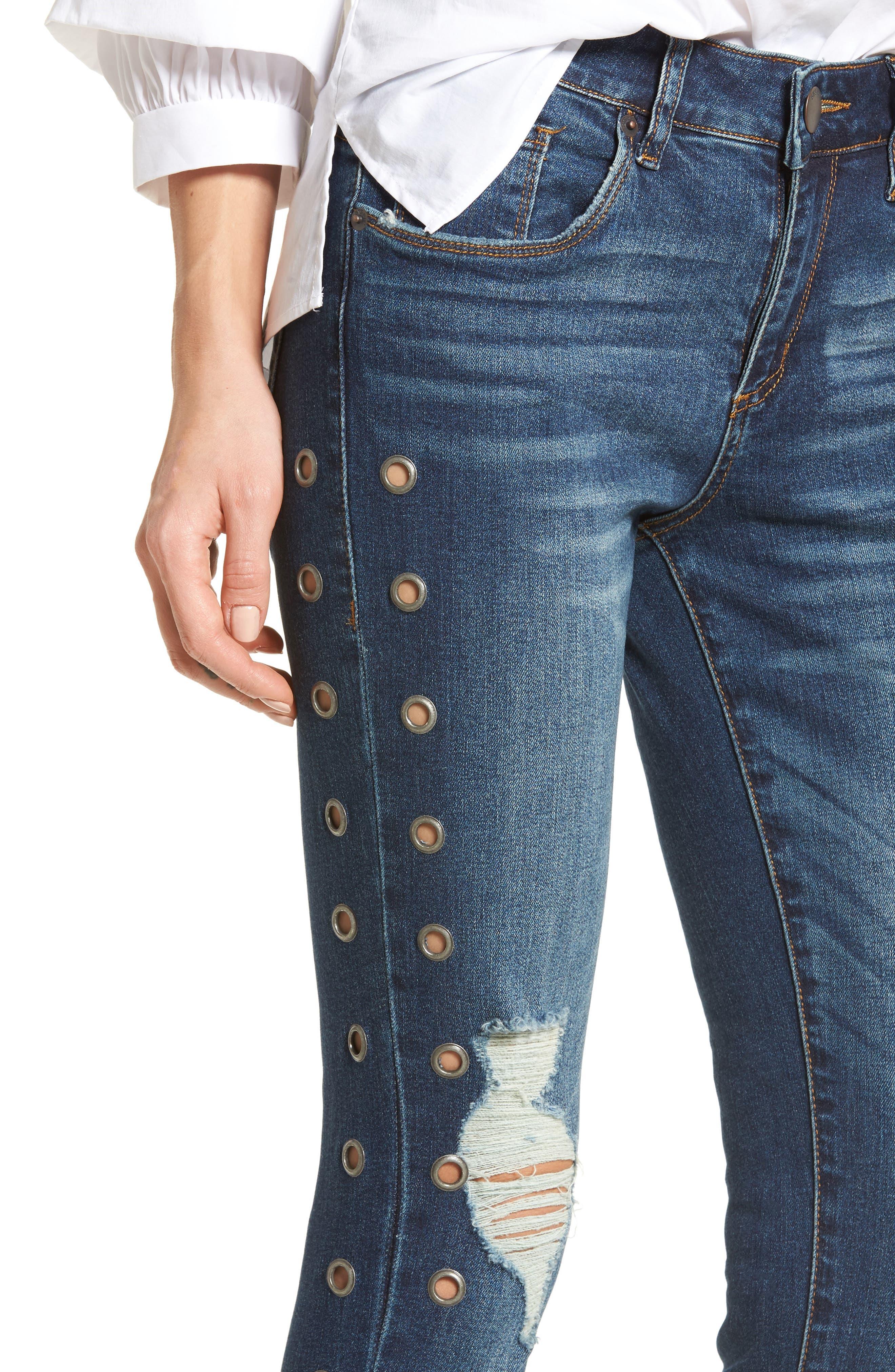 Piper Grommet Detail Skinny Jeans,                             Alternate thumbnail 4, color,