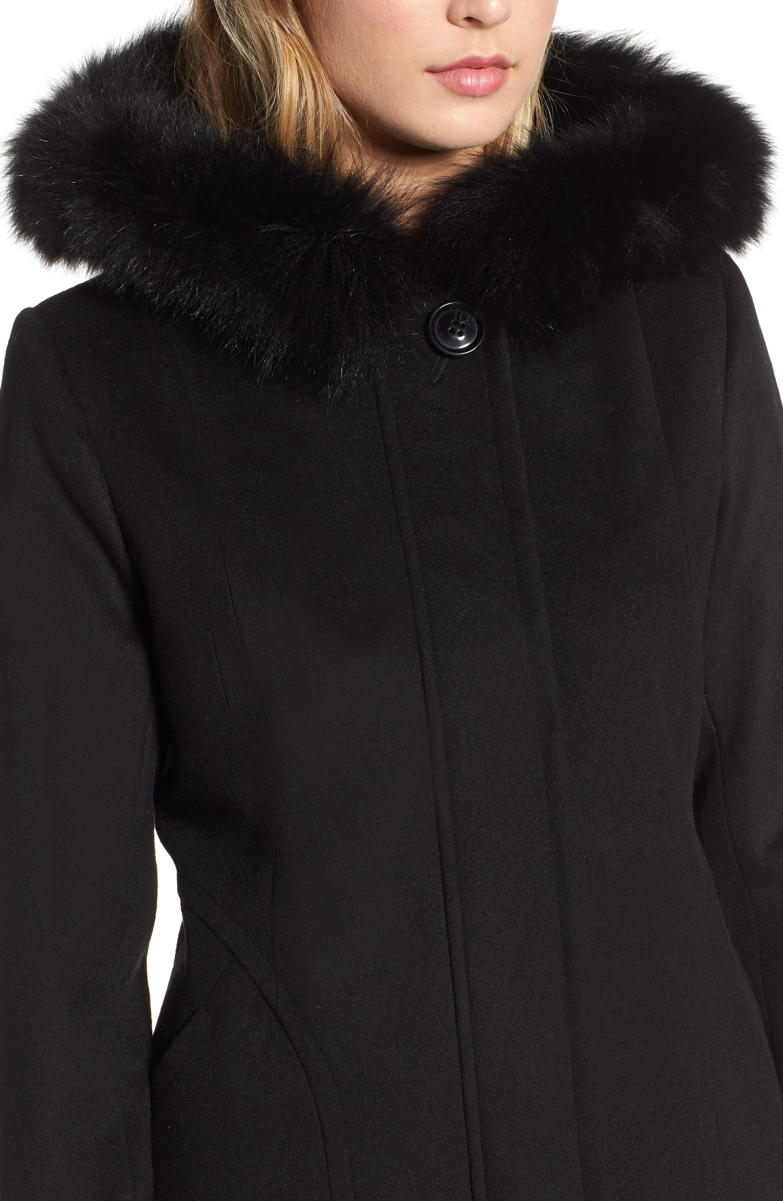 Genuine Fox Fur Trim Hooded Wool Coat,                             Alternate thumbnail 4, color,                             001