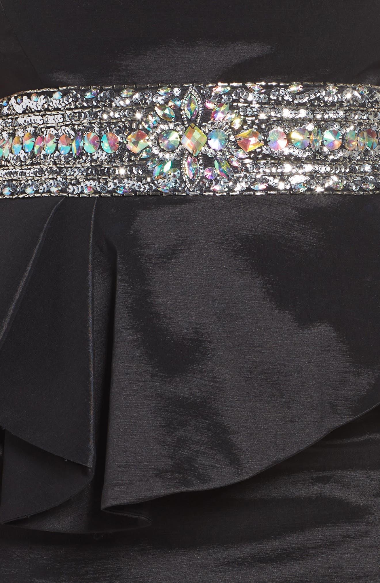 Beaded Bustier Peplum Gown,                             Alternate thumbnail 4, color,                             001