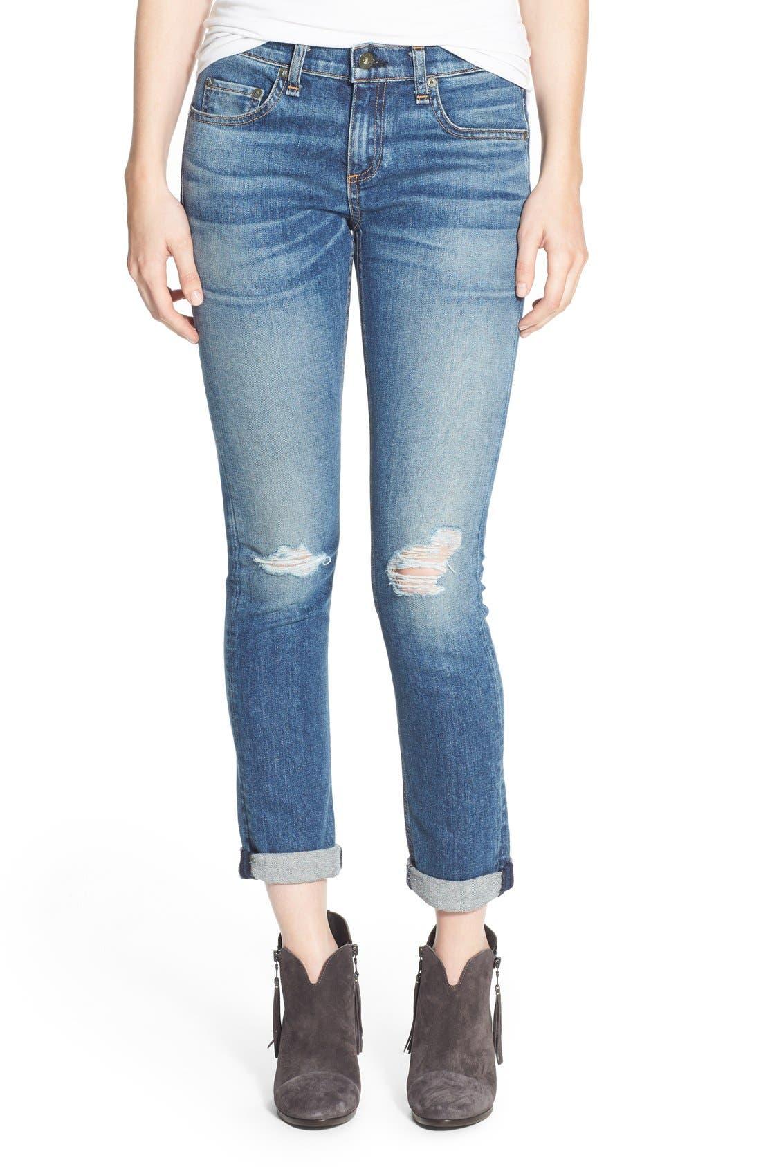 'Dre' Distressed Slim Boyfriend Jeans,                         Main,                         color, 423