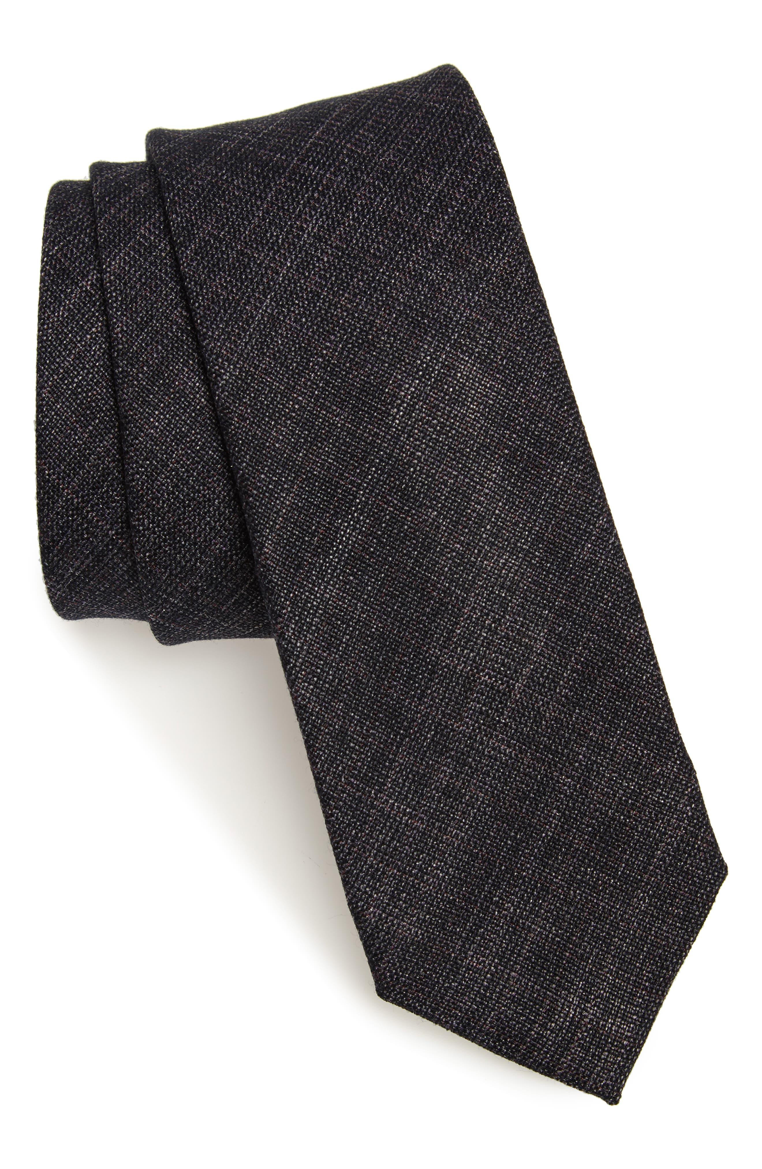 Nordstrom Men's Shop Glencoe Tie,                             Main thumbnail 1, color,                             CHARCOAL