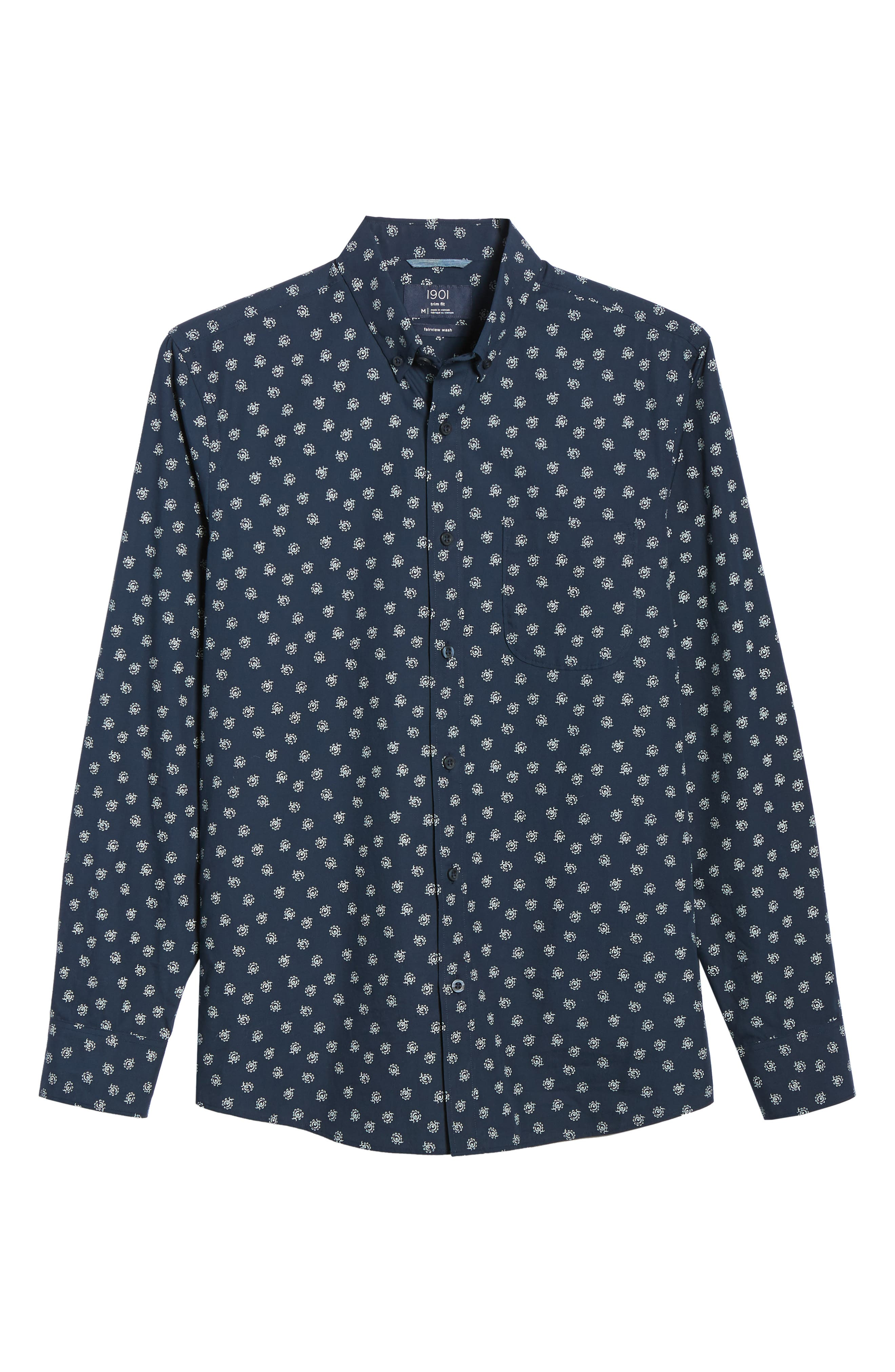 Floral Print Sport Shirt,                             Alternate thumbnail 5, color,                             NAVY IRIS FLORAL PRINT