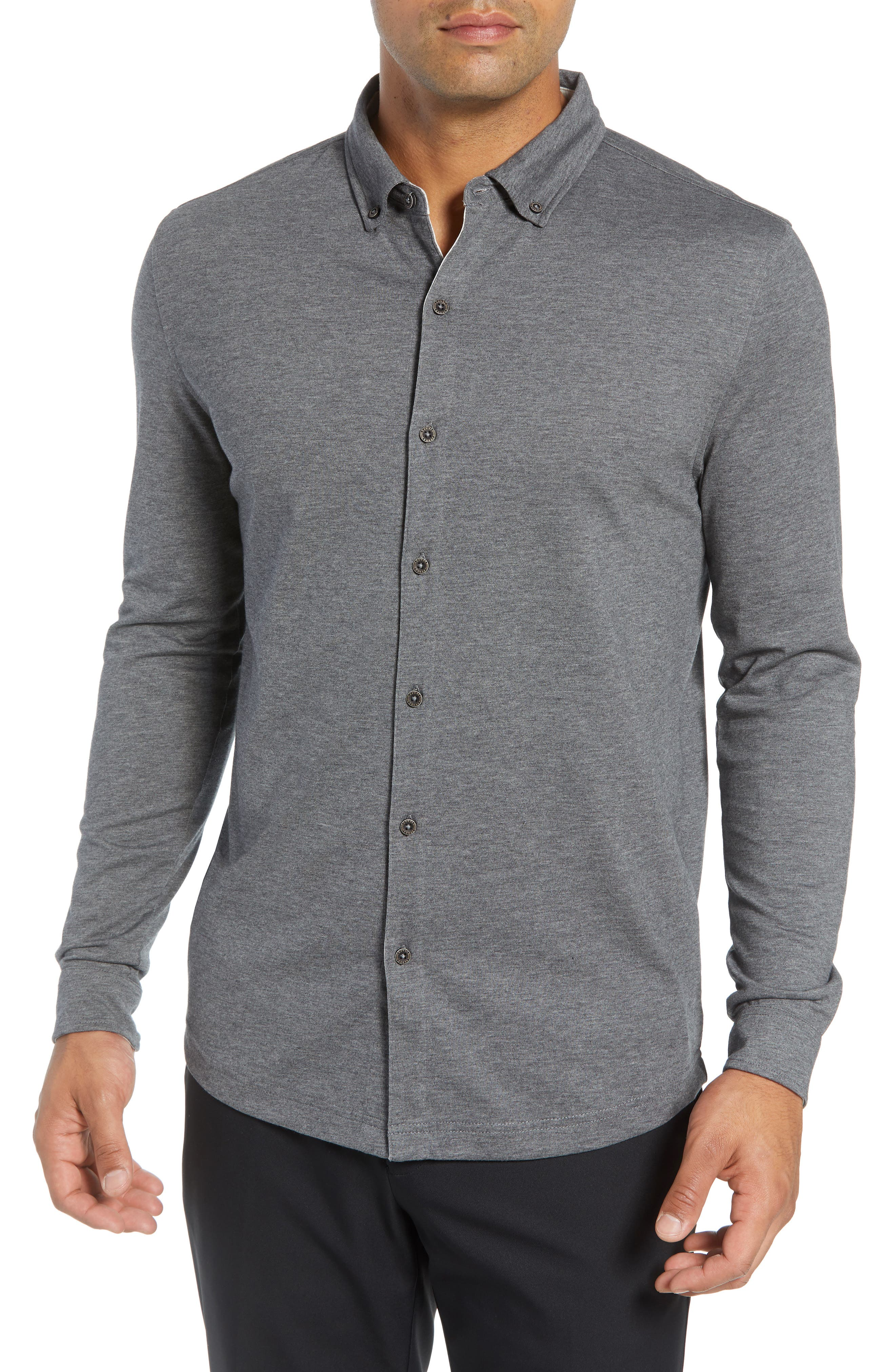 Rule 18 Brushed Regular Fit Knit Sport Shirt,                             Main thumbnail 1, color,                             020