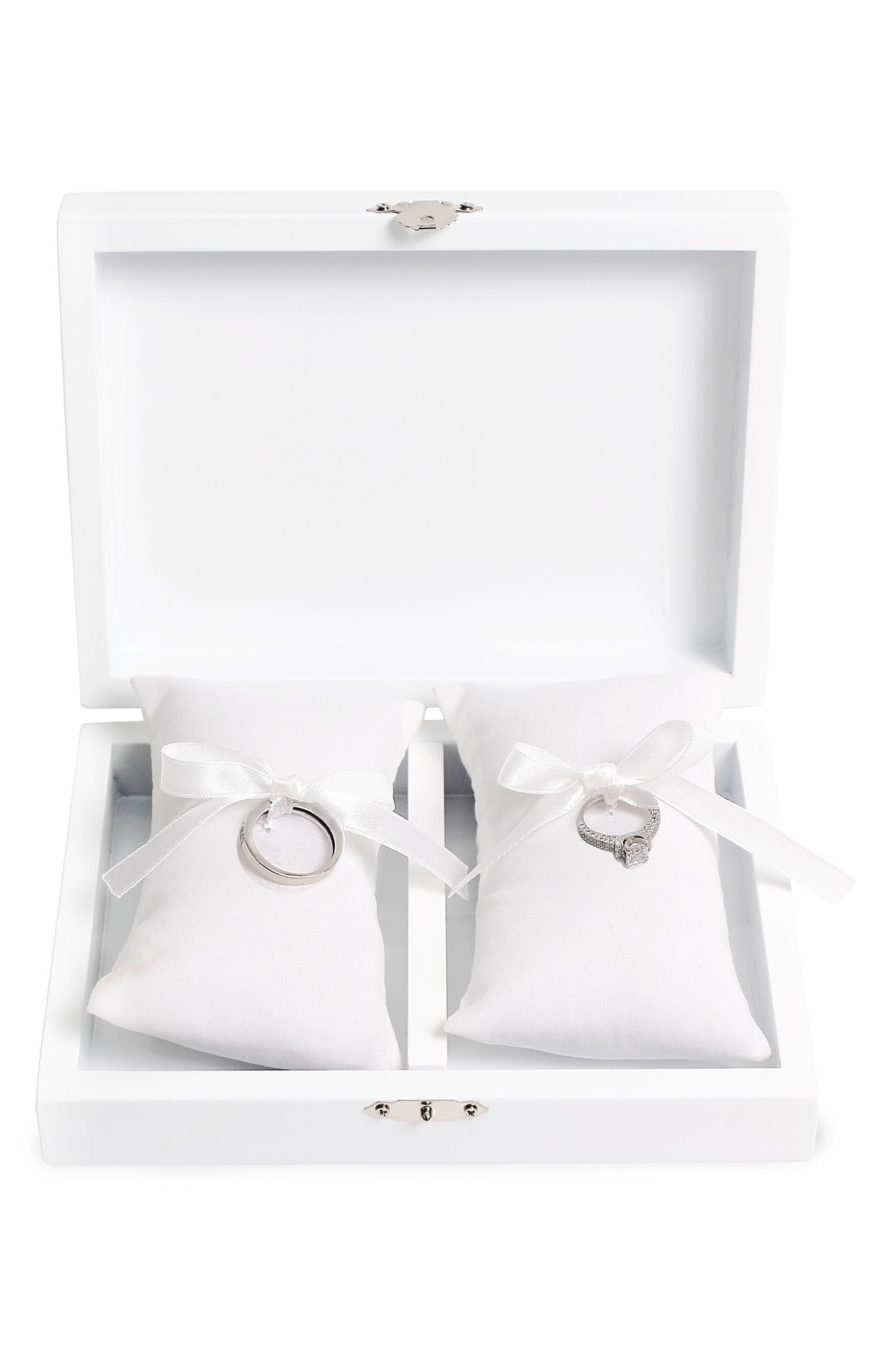 Monogram Floral Wedding Ring Box,                             Alternate thumbnail 27, color,