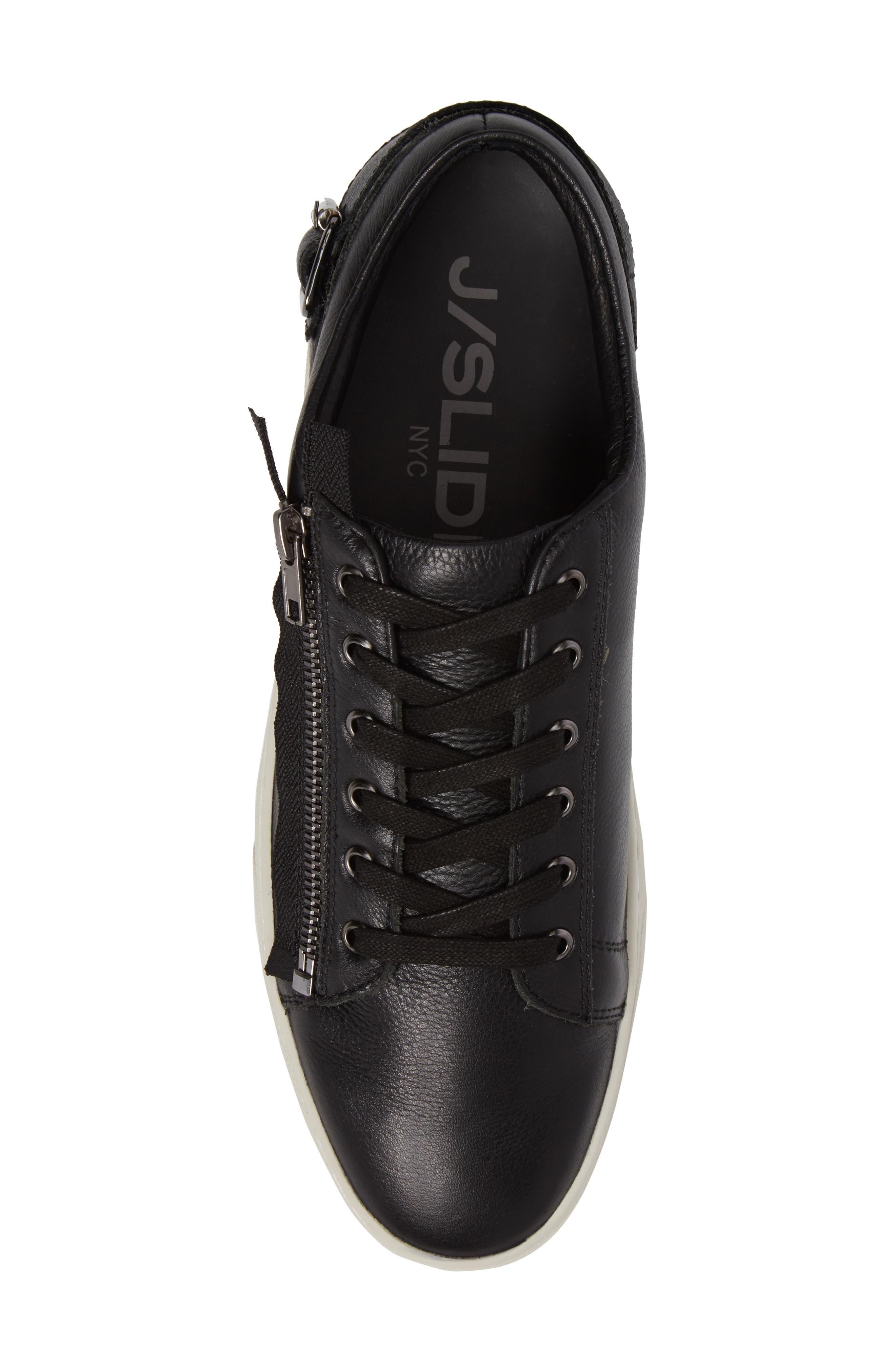 Wayne Sneaker,                             Alternate thumbnail 5, color,                             BLACK LEATHER