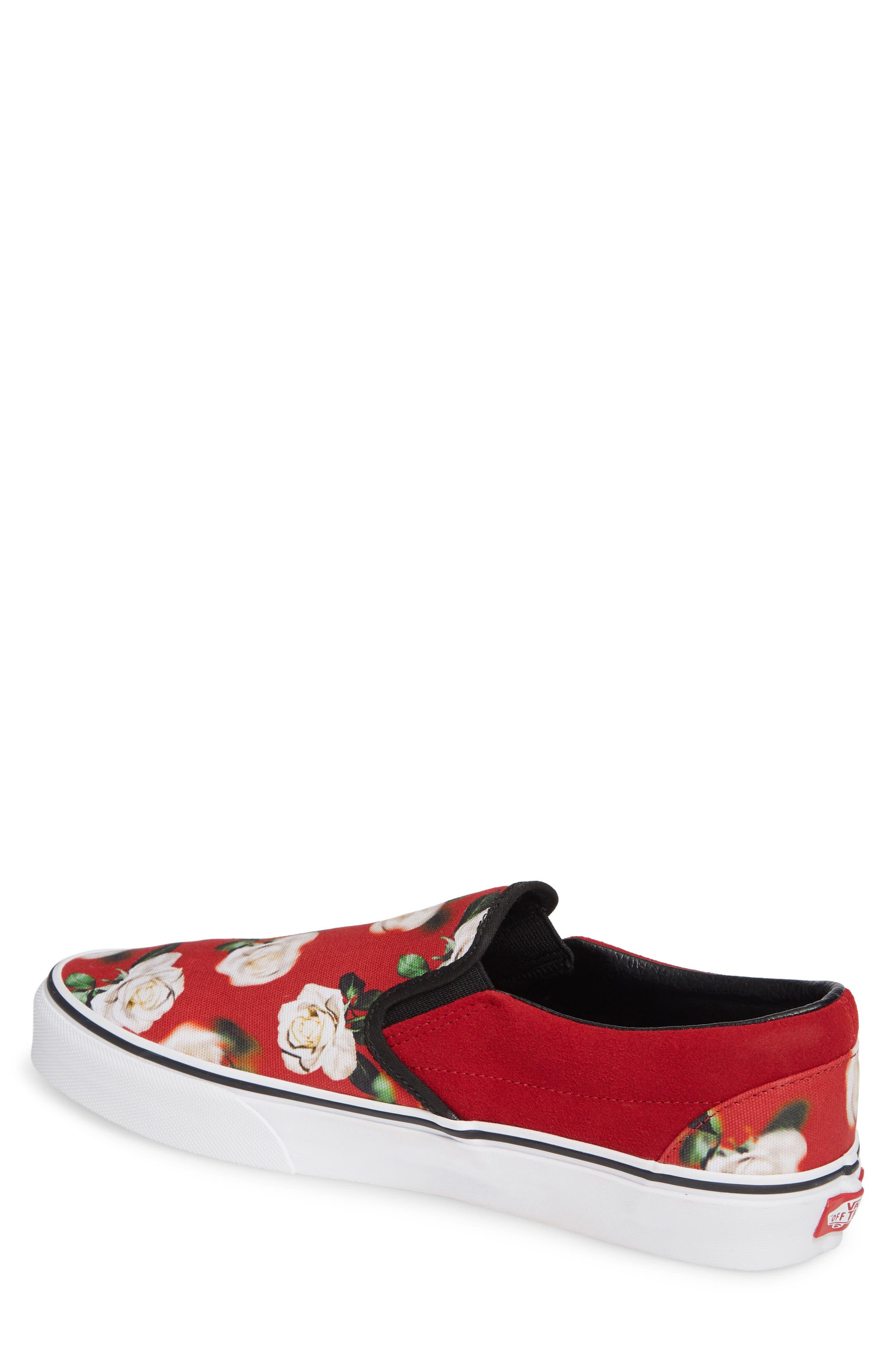 'Classic' Slip-On Sneaker,                             Alternate thumbnail 2, color,                             CHILI PEPPER/ ROMANTIC FLORAL