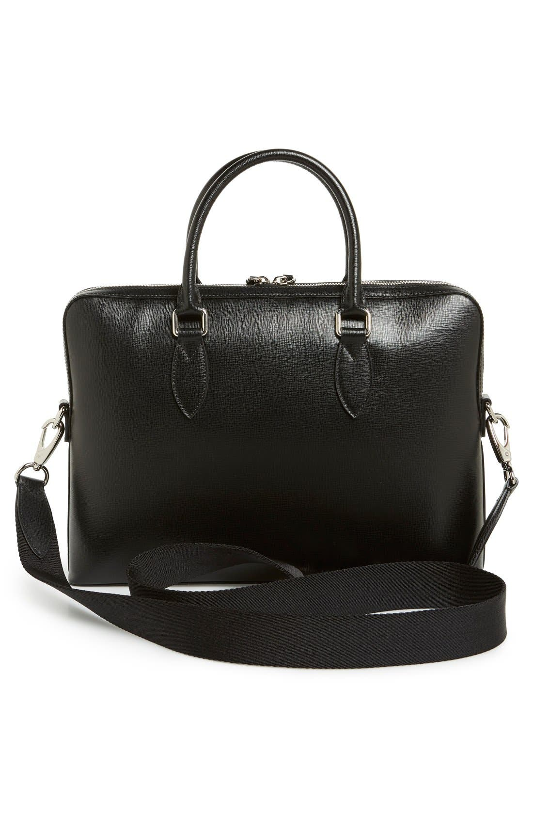 'New London' Calfskin Leather Briefcase,                             Alternate thumbnail 6, color,                             BLACK