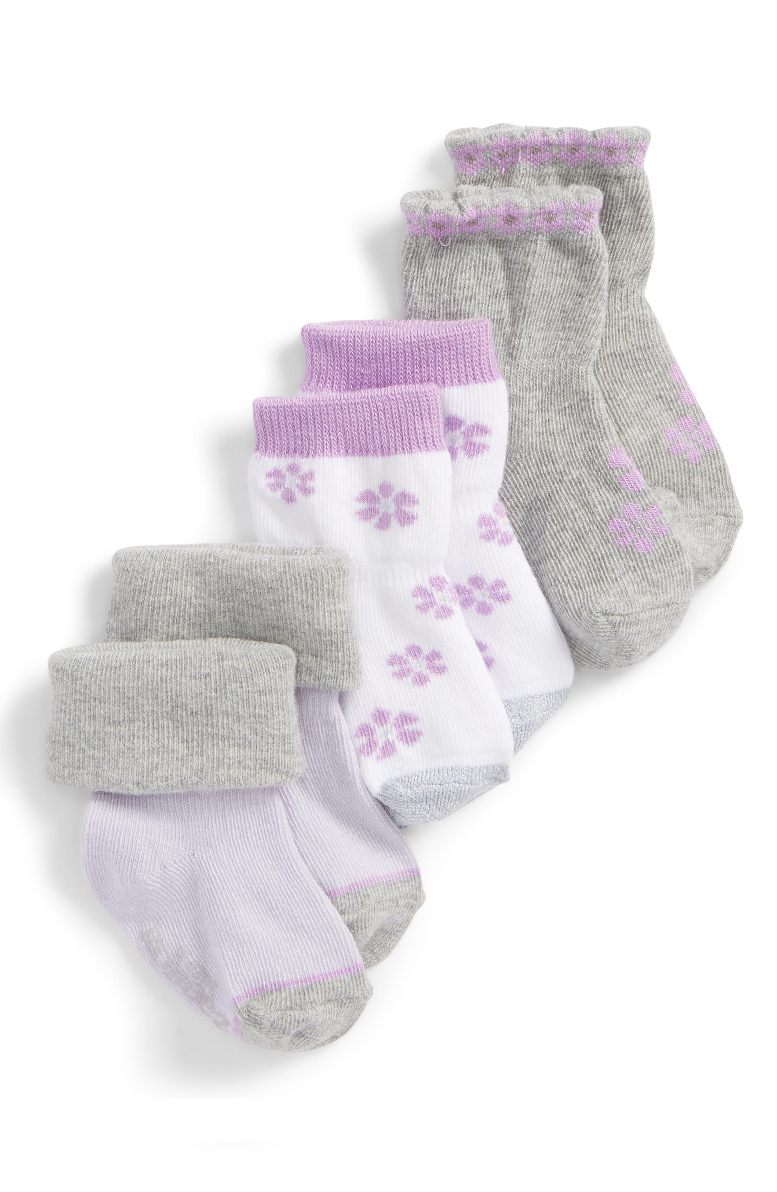 ROBEEZ<SUP>®</SUP>,                             Purple Flowers 3-Pack Socks,                             Main thumbnail 1, color,                             PURPLE/ GRAY/ WHITE