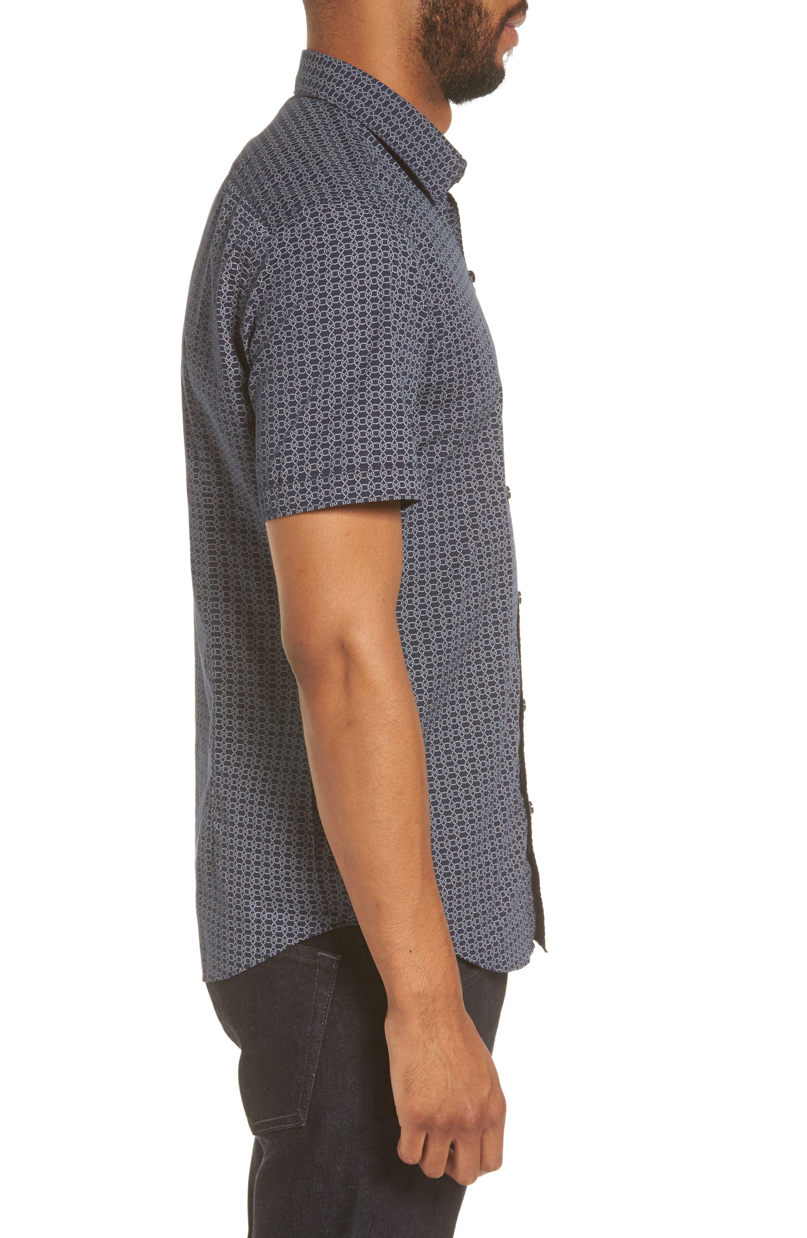 Robb Sharp Fit Knot Print Sport Shirt,                             Alternate thumbnail 3, color,                             410