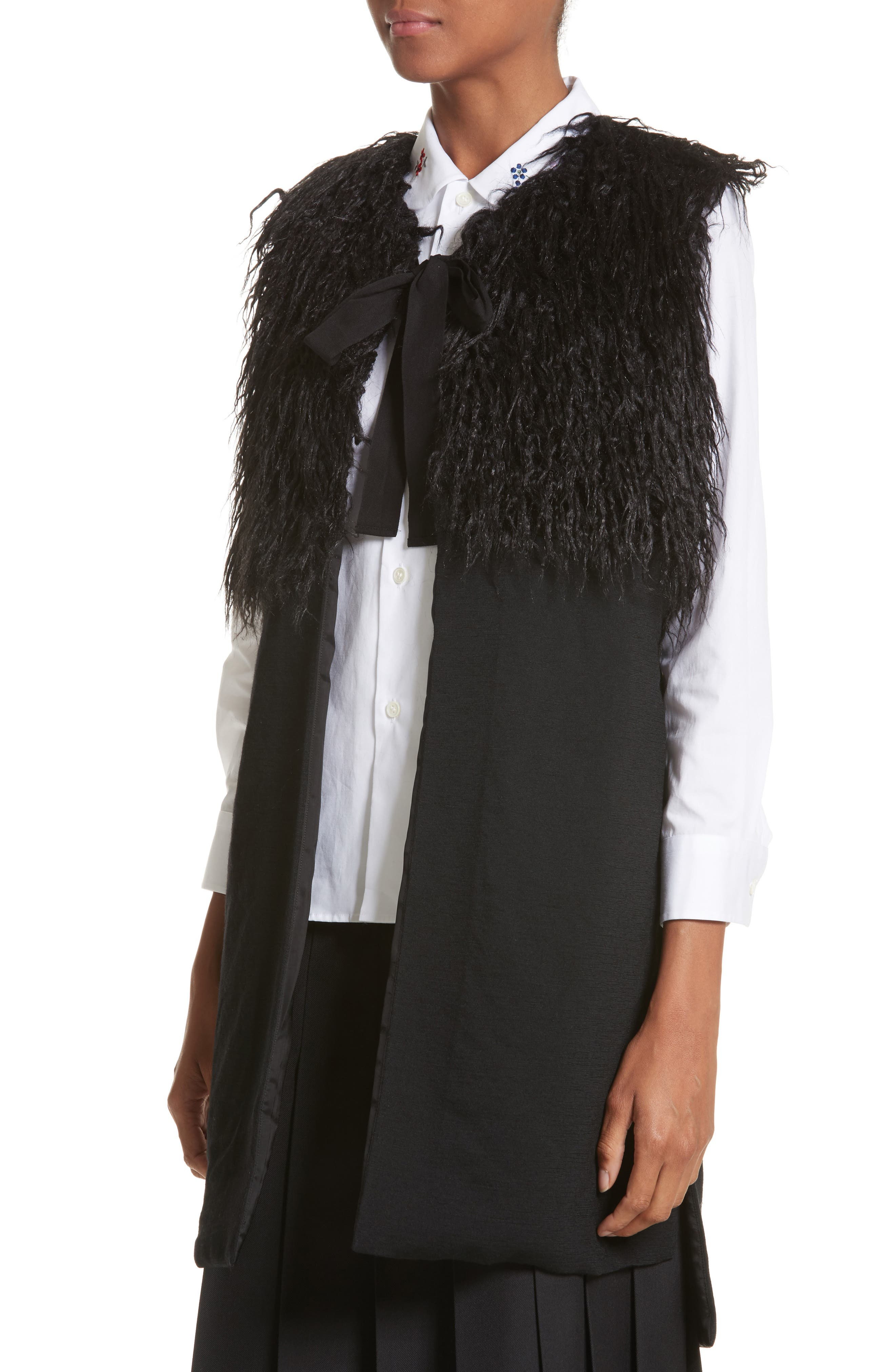 Tie Neck Gilet Vest with Faux Fur Trim,                             Alternate thumbnail 4, color,