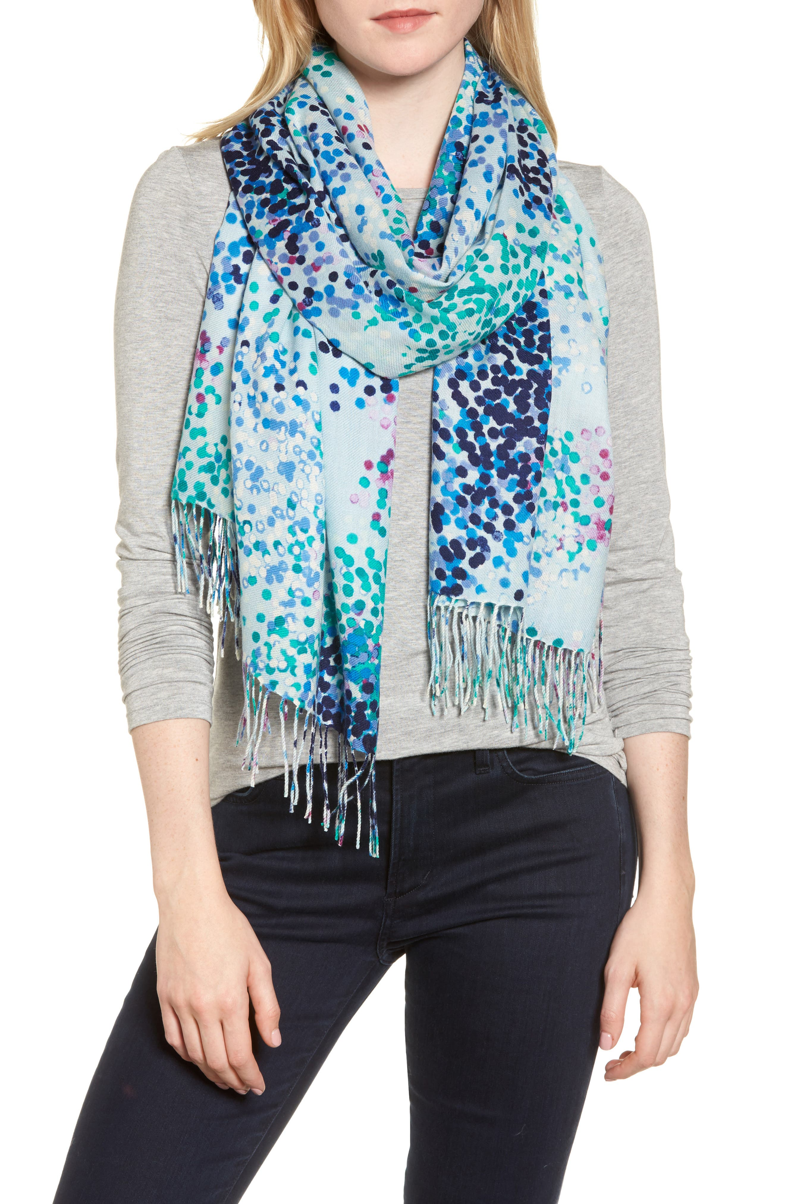 Tissue Print Wool & Cashmere Wrap Scarf,                             Main thumbnail 11, color,