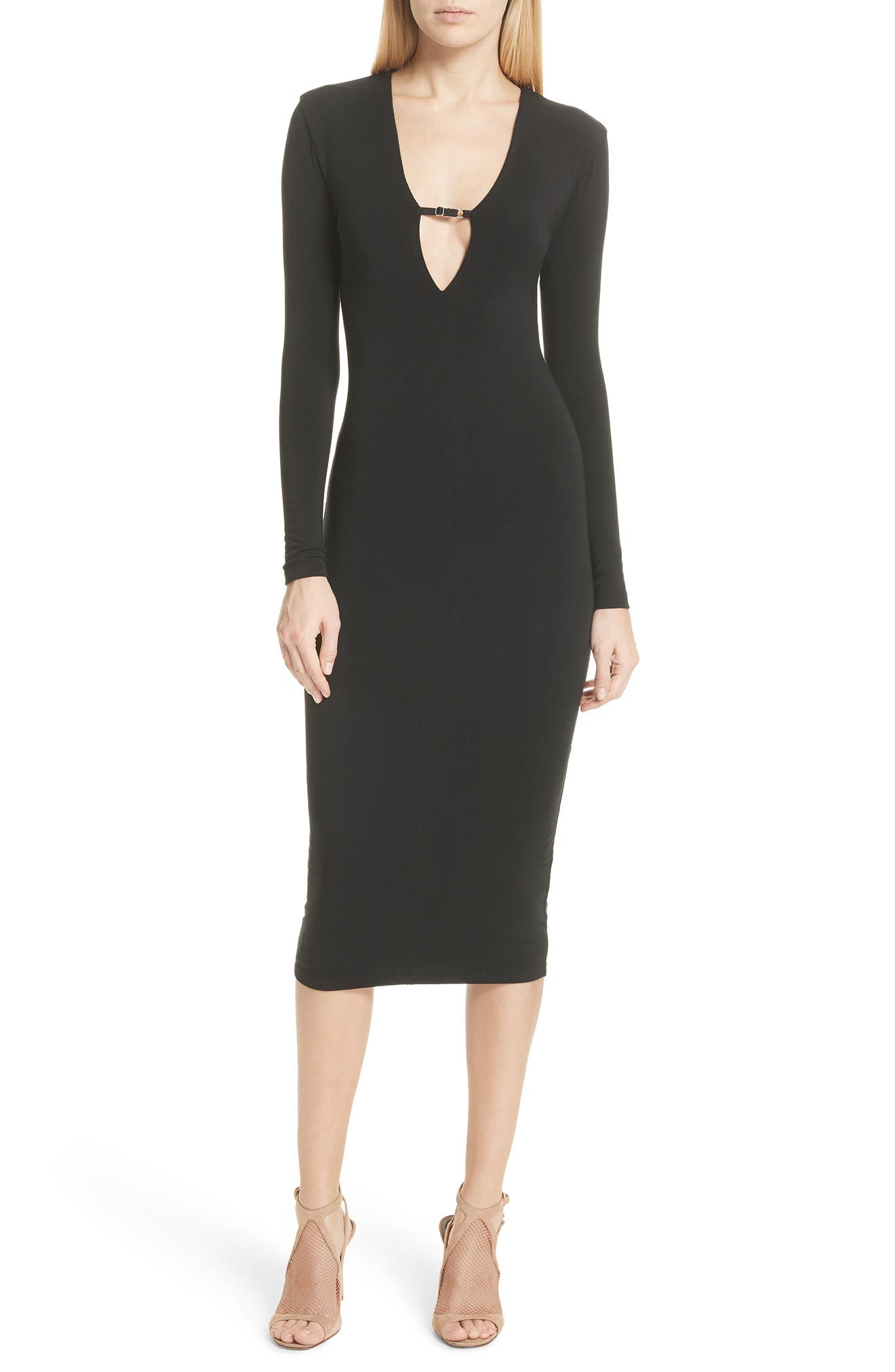 T by Alexander Wang Keyhole Neck Body-Con Dress,                         Main,                         color, 001