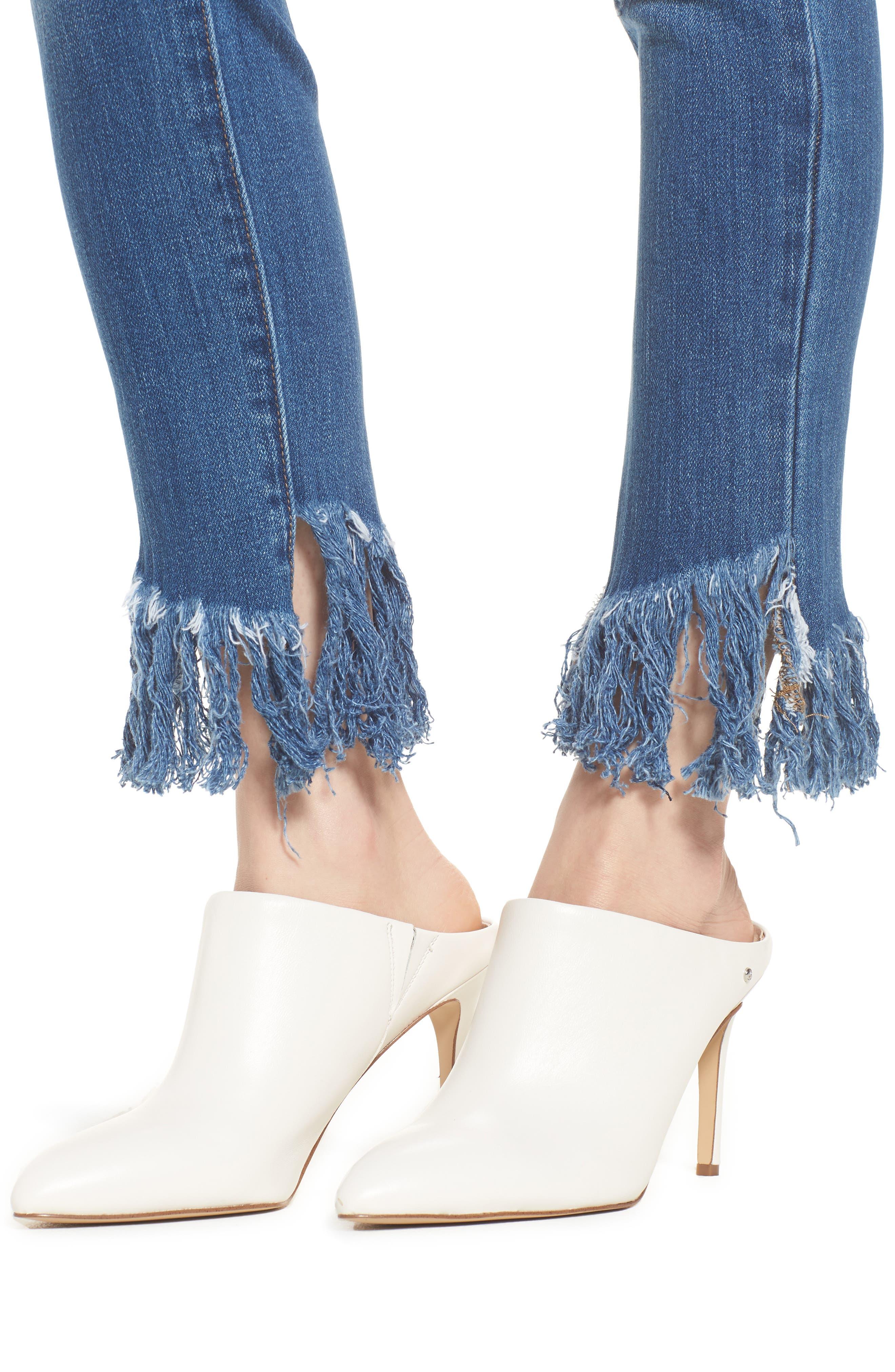 Low Key Judging Fray Hem Skinny Jeans,                             Alternate thumbnail 4, color,                             400