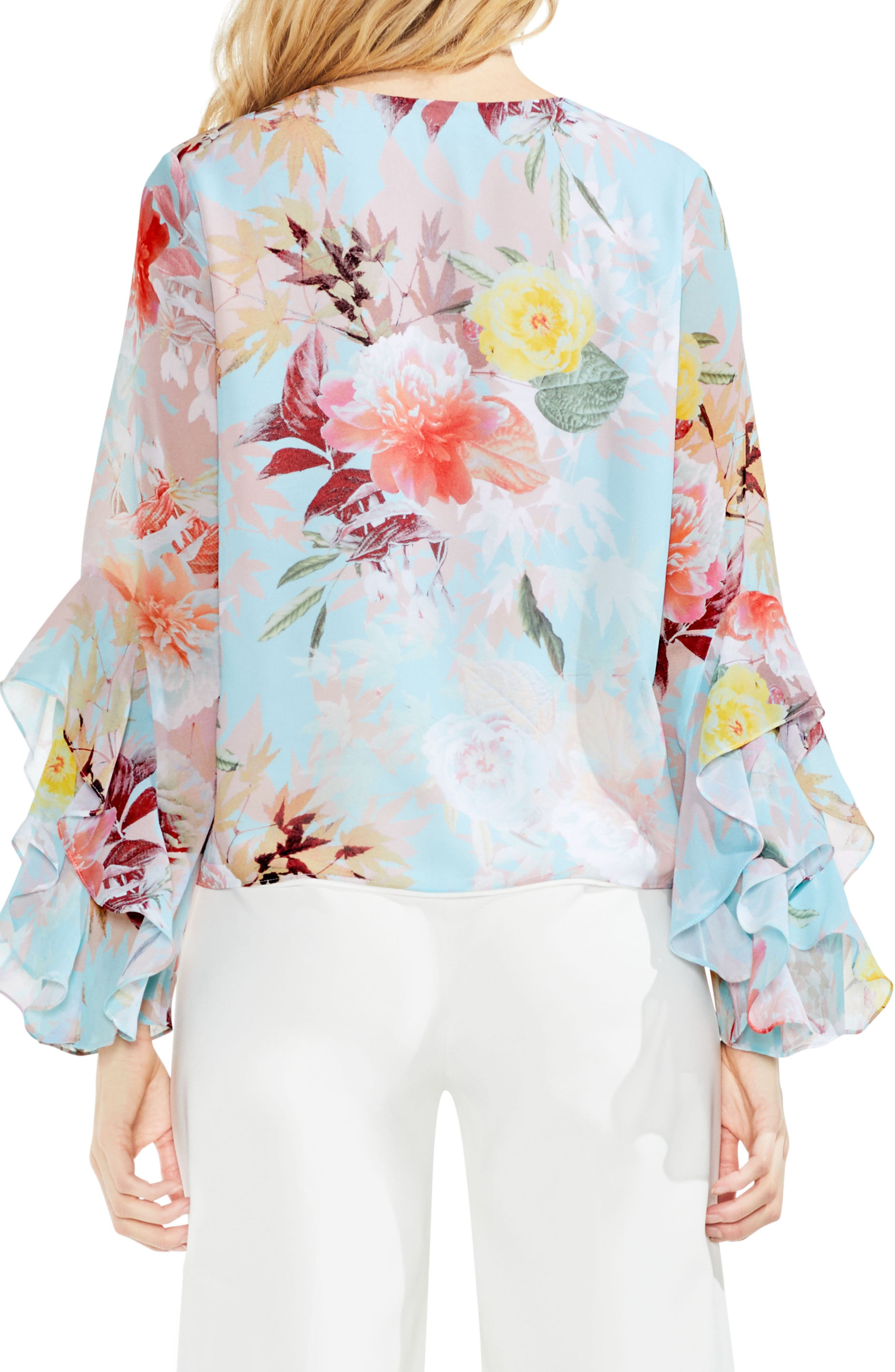 Faded Bloom Ruffle Sleeve Blouse,                             Alternate thumbnail 2, color,                             487